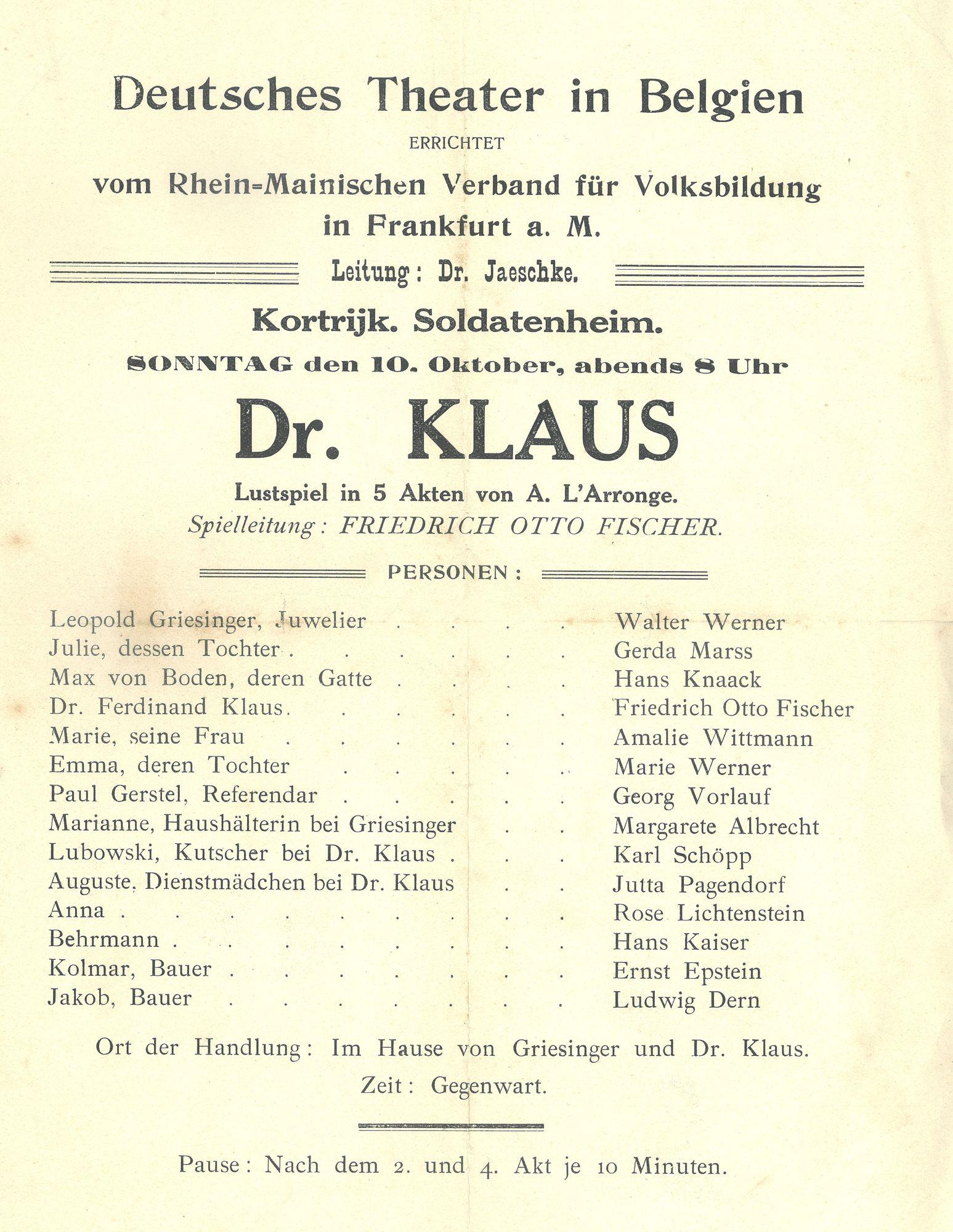 Duits theater tijdens Wereldoorlog I