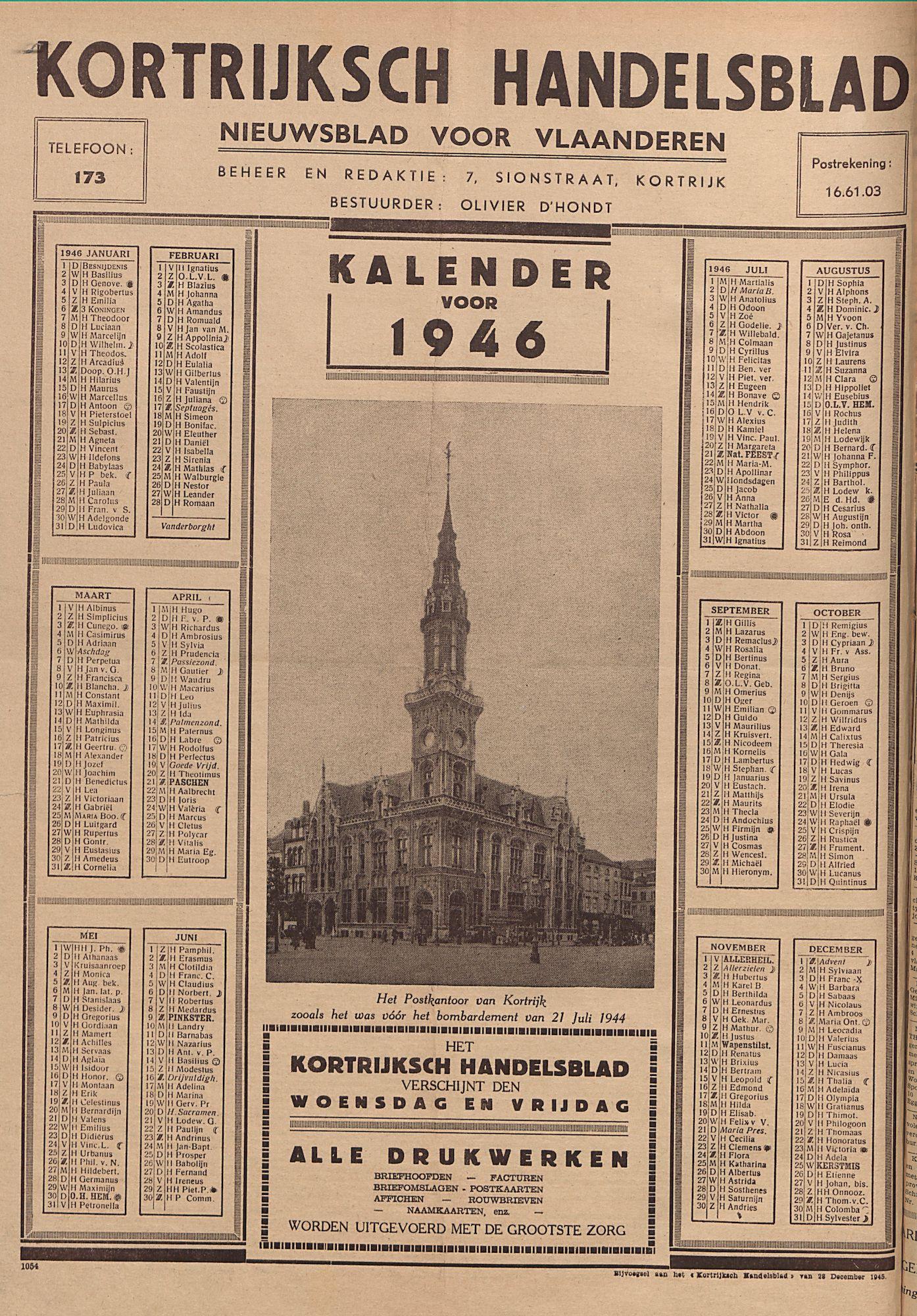 Kortrijksch Handelsblad Kalender voor 1946 p1
