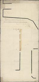 Bouwplan van het huis van de familie Lanneeuw aan de Vismarkt te Kortrijk m.b.t. het verbreden van een straat om de schepen met de kraan gemakkelijker te kunnen lossen, opgemaakt door J.B. Casaer, 1826