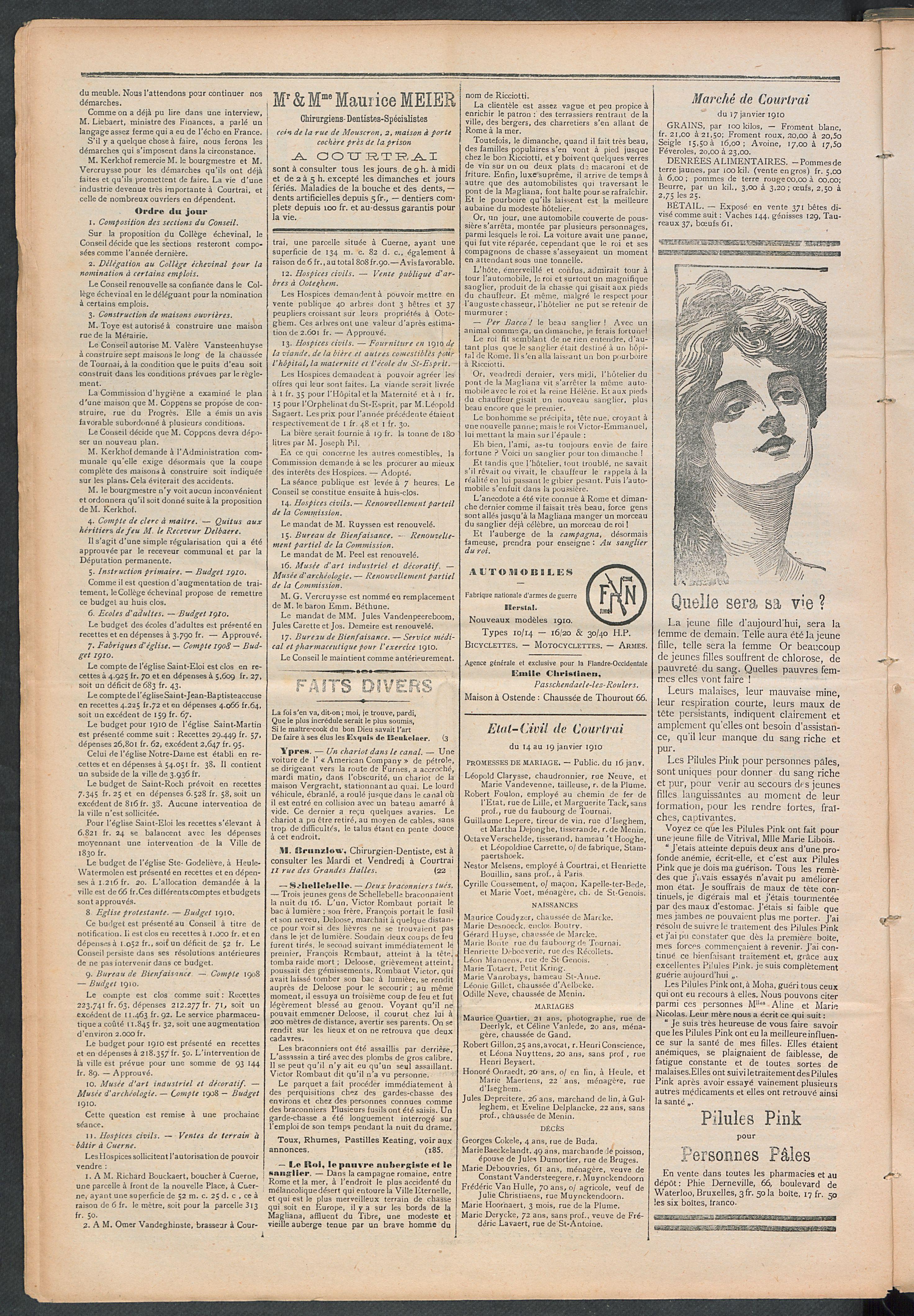 L'echo De Courtrai 1910-01-20 p2