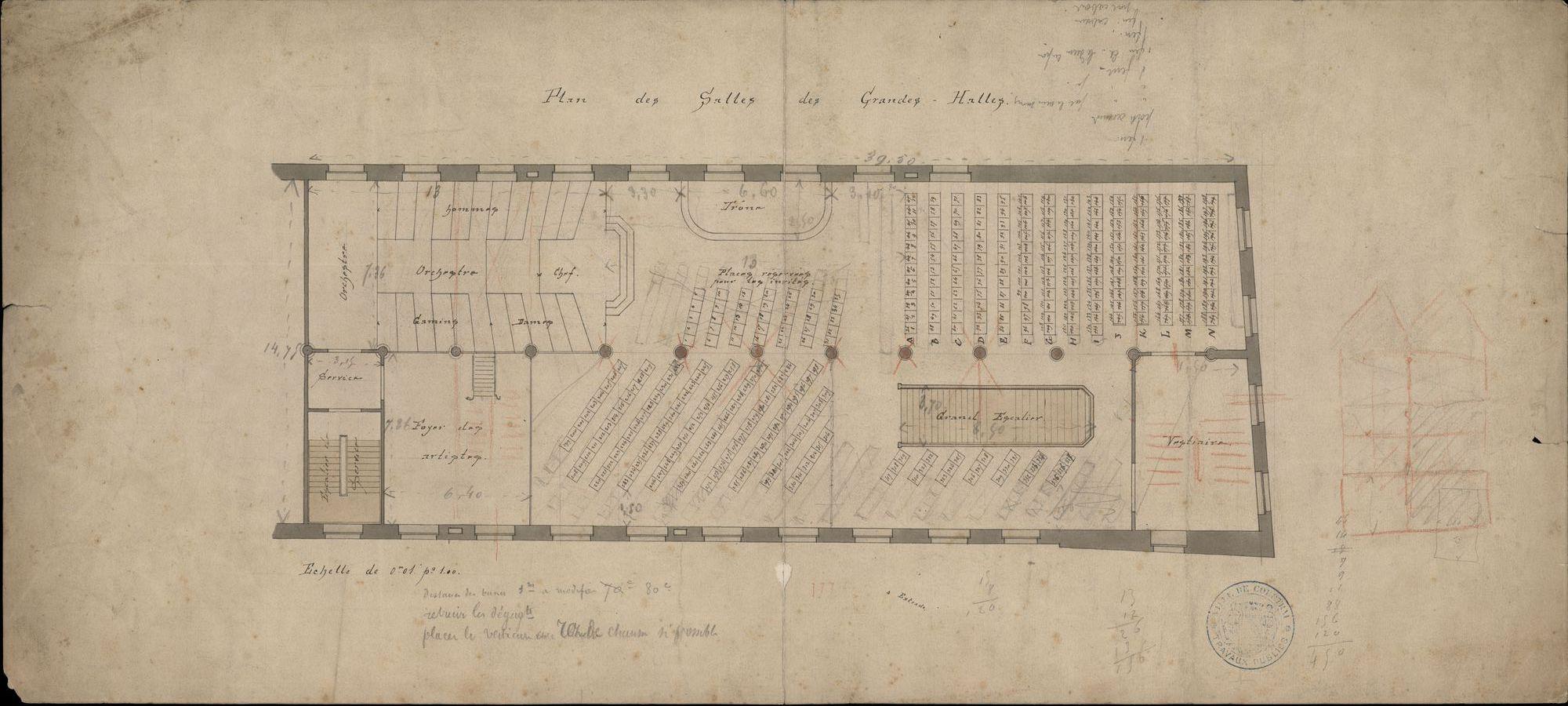 Bouwplannen van een zaal op de verdieping van de Grote Hallen te Kortrijk, 1ste helft 20ste eeuw