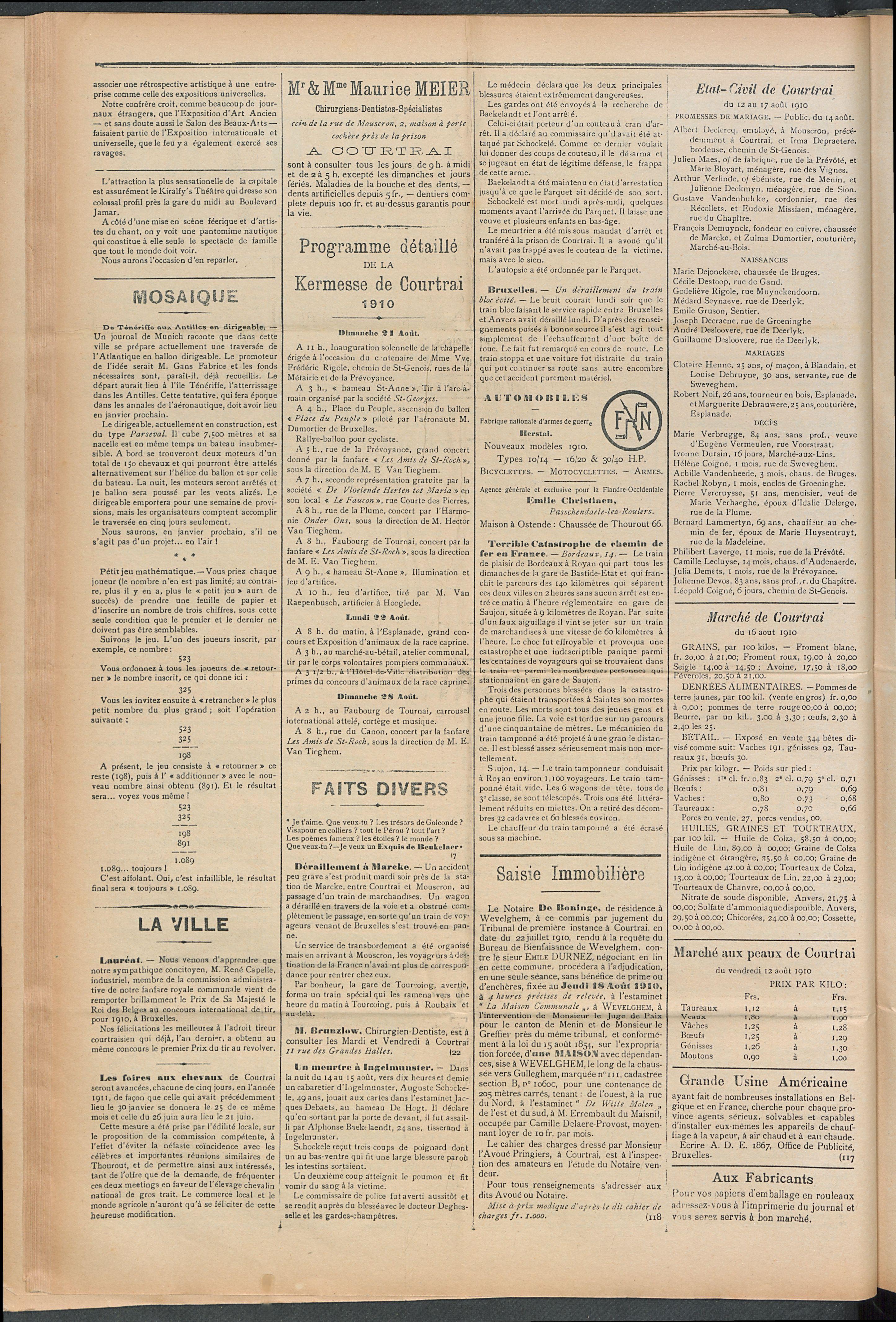 L'echo De Courtrai 1910-08-18 p2