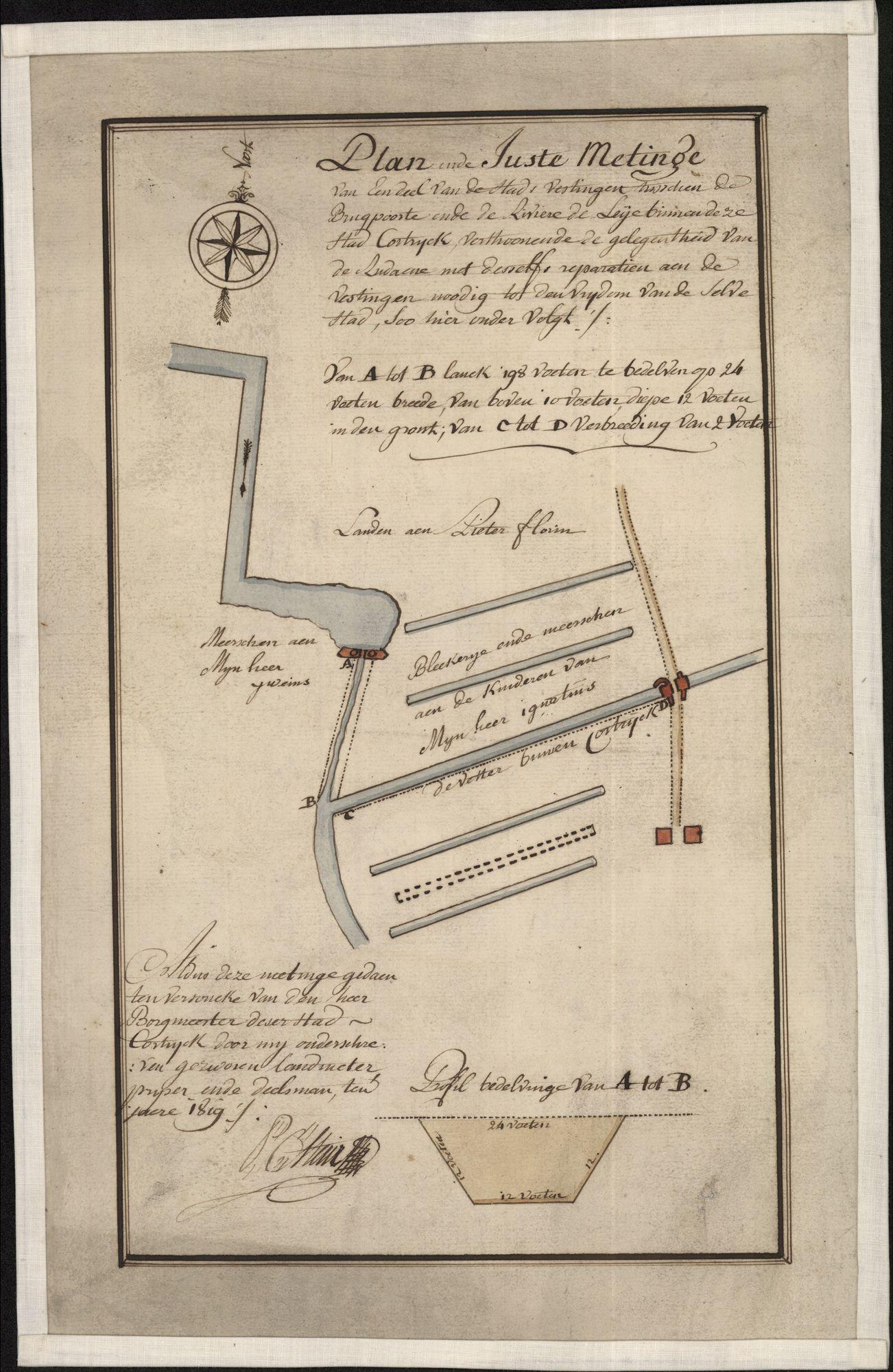 Plattegrond van de meersen en de stadsgracht tussen de Leie en de Brugsepoort te Kortrijk, opgemaakt door P.C. Steur, 1819