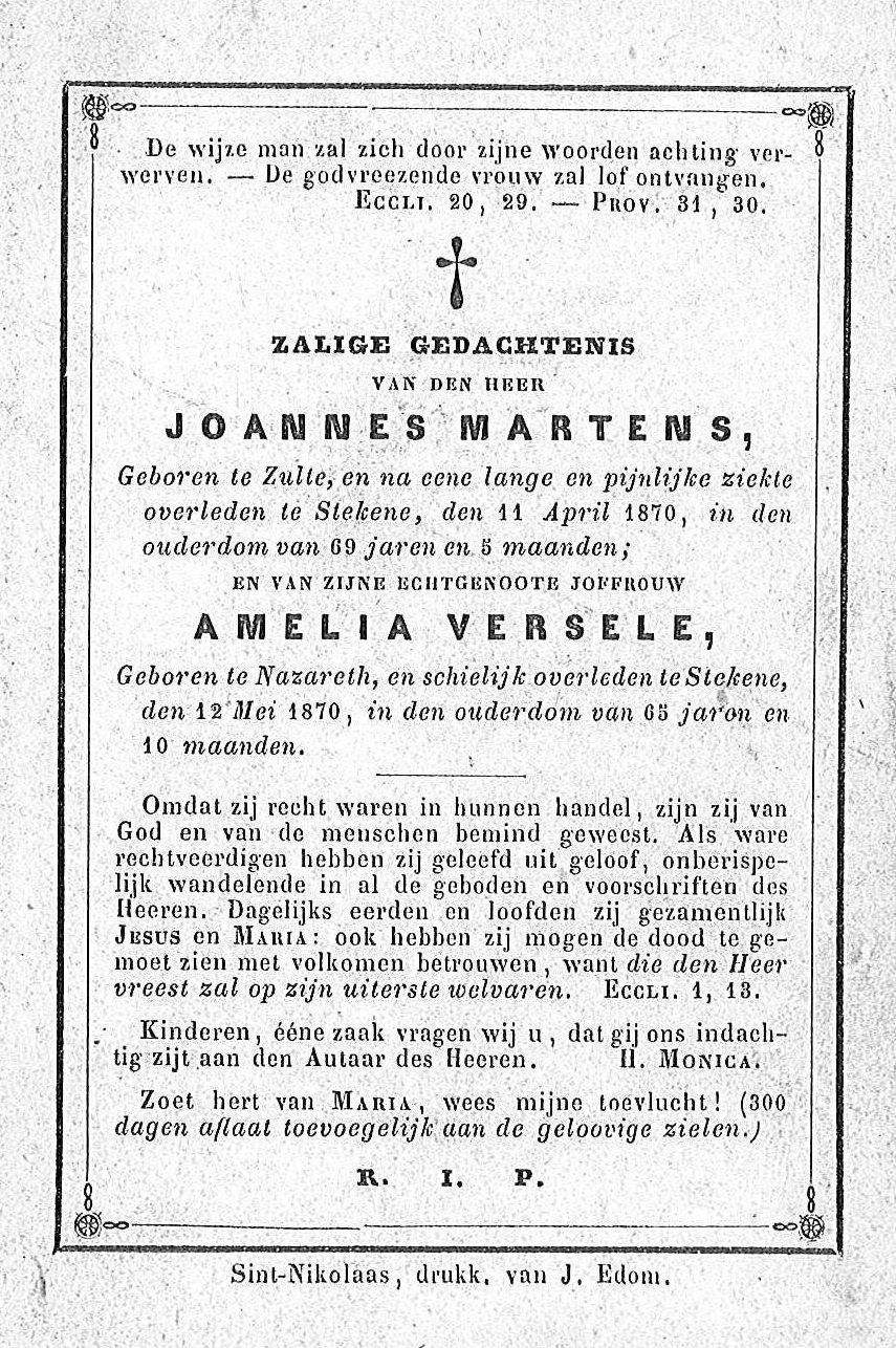 Joannes Martens en Amelia Versele