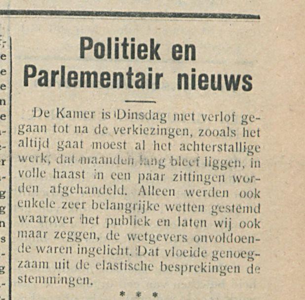 Politiek en Parlementair nieuws