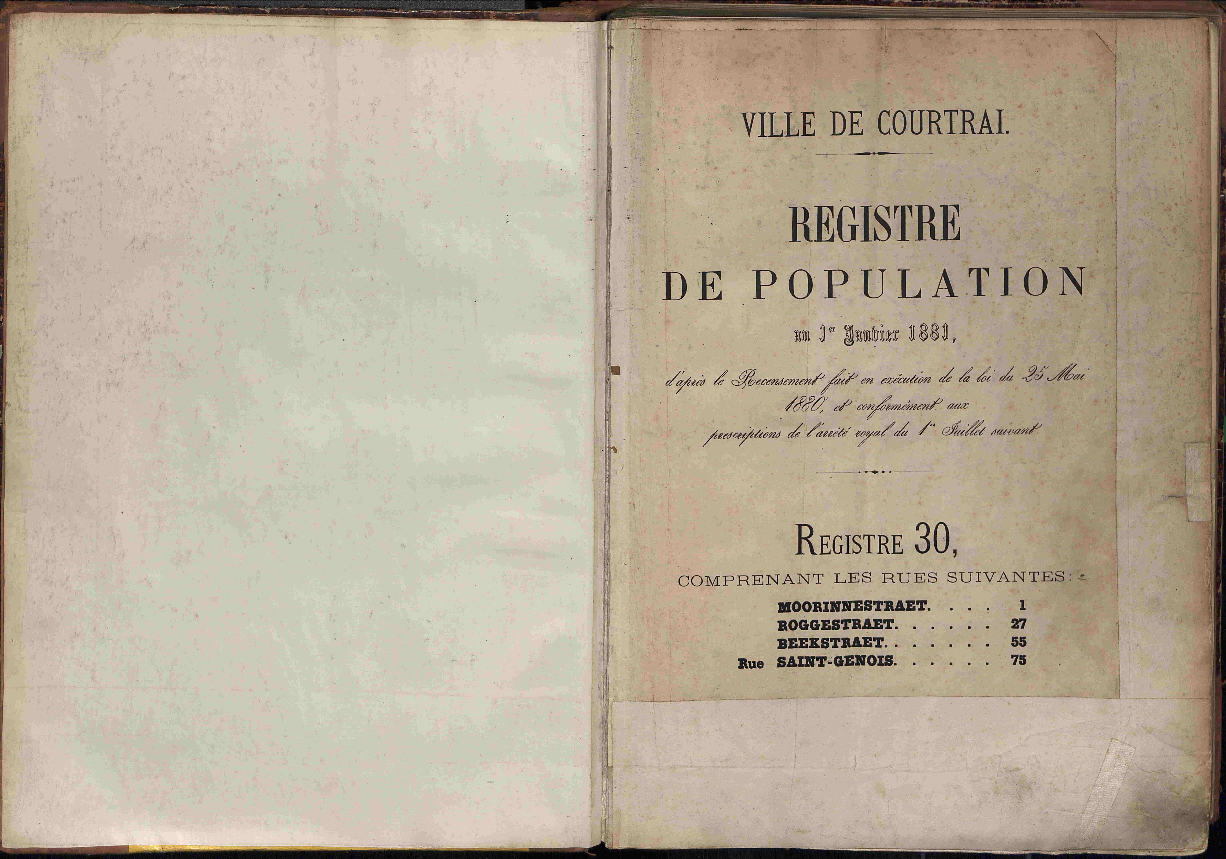 Bevolkingsregister Kortrijk 1880 boek 30