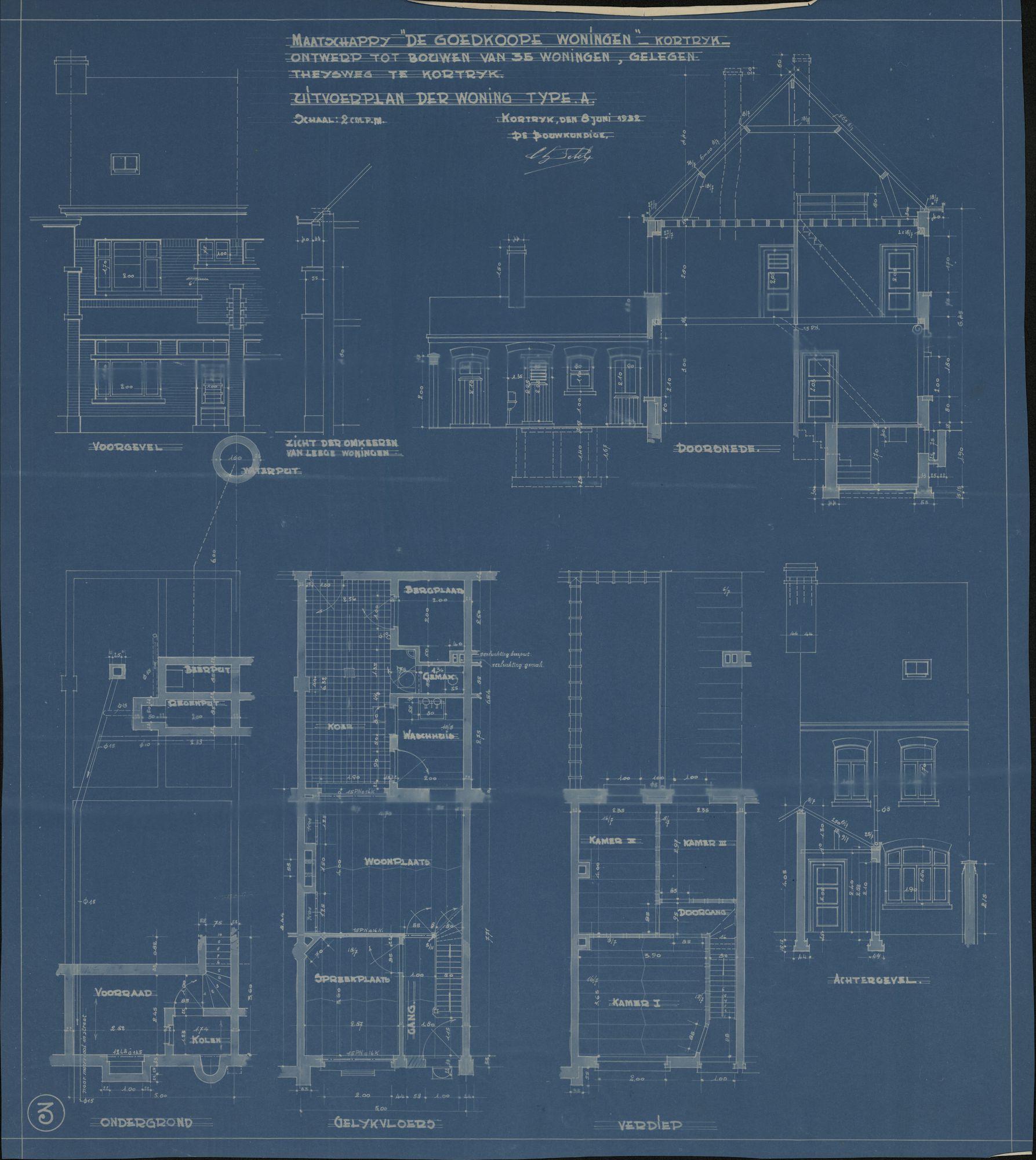 Bouwplannen voor het bouwen van goedkope woningen door de maatschappij van goedkope woningen te Kortrijk, 1932