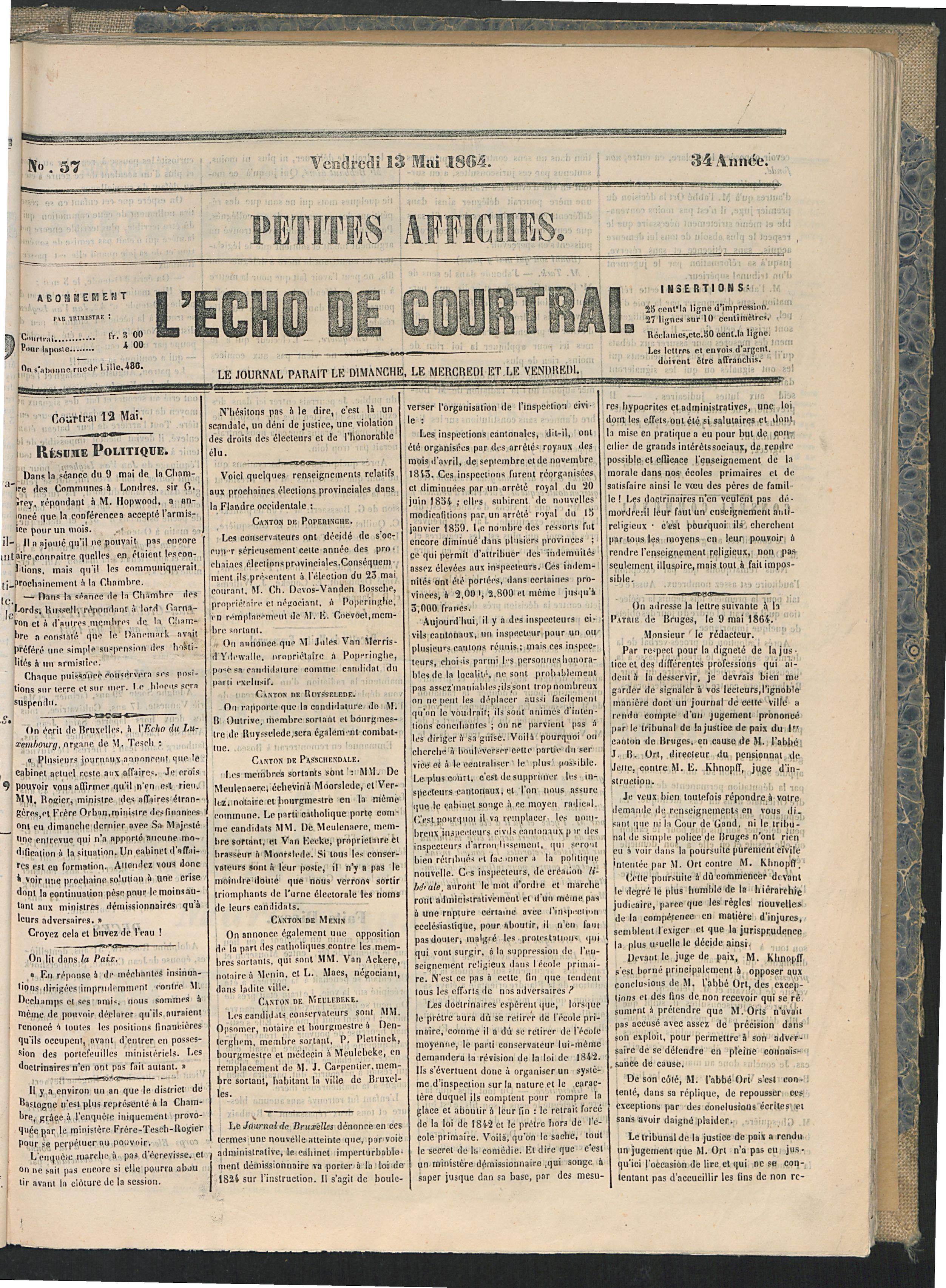 L'echo De Courtrai 1864-05-13 p1