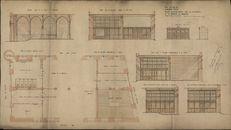Bouwplannen van de binnenhuisinrichting van de Grote Hallen te Kortrijk, opgemaakt door Degeyne, 1909