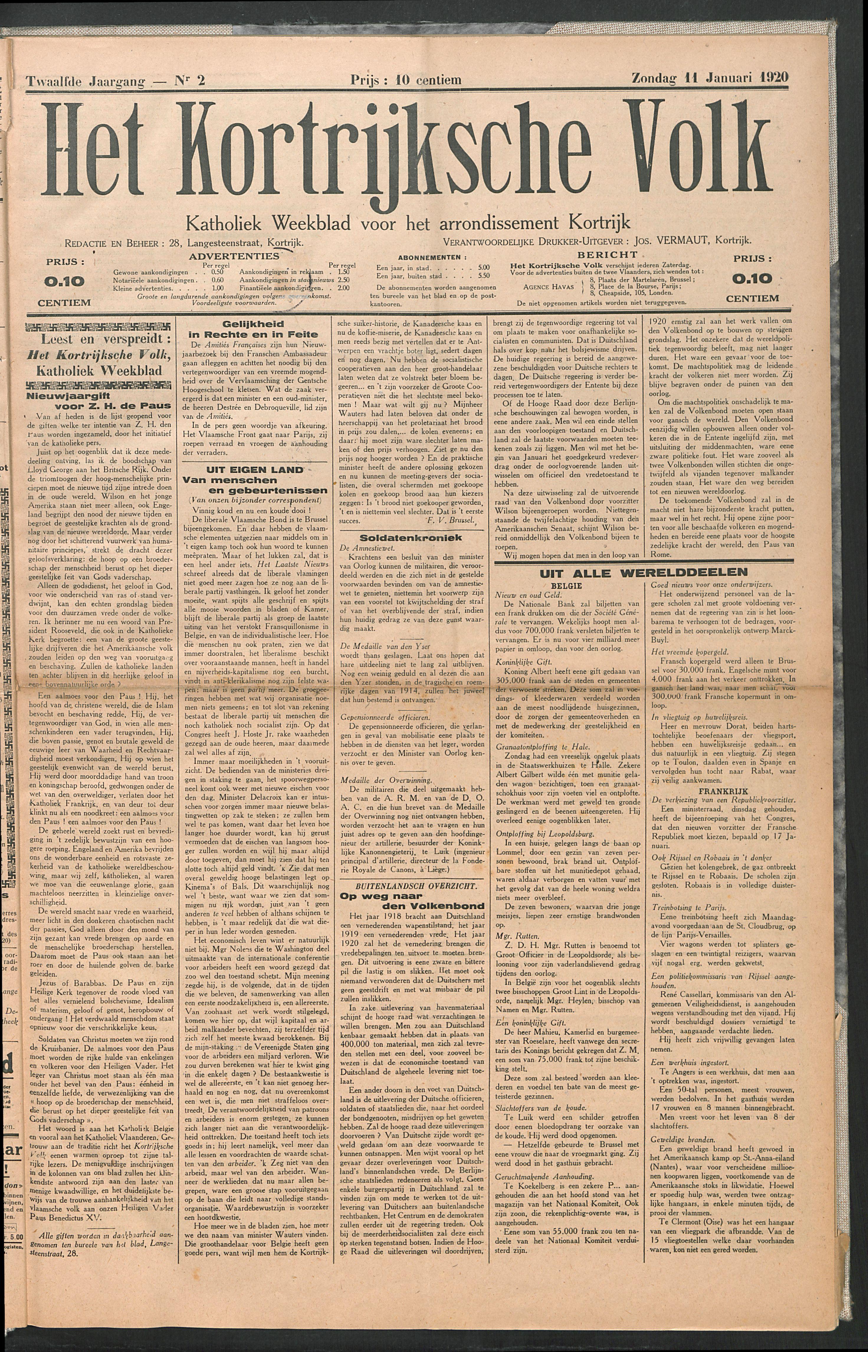 Het Kortrijksche Volk 1920-01-11 p1