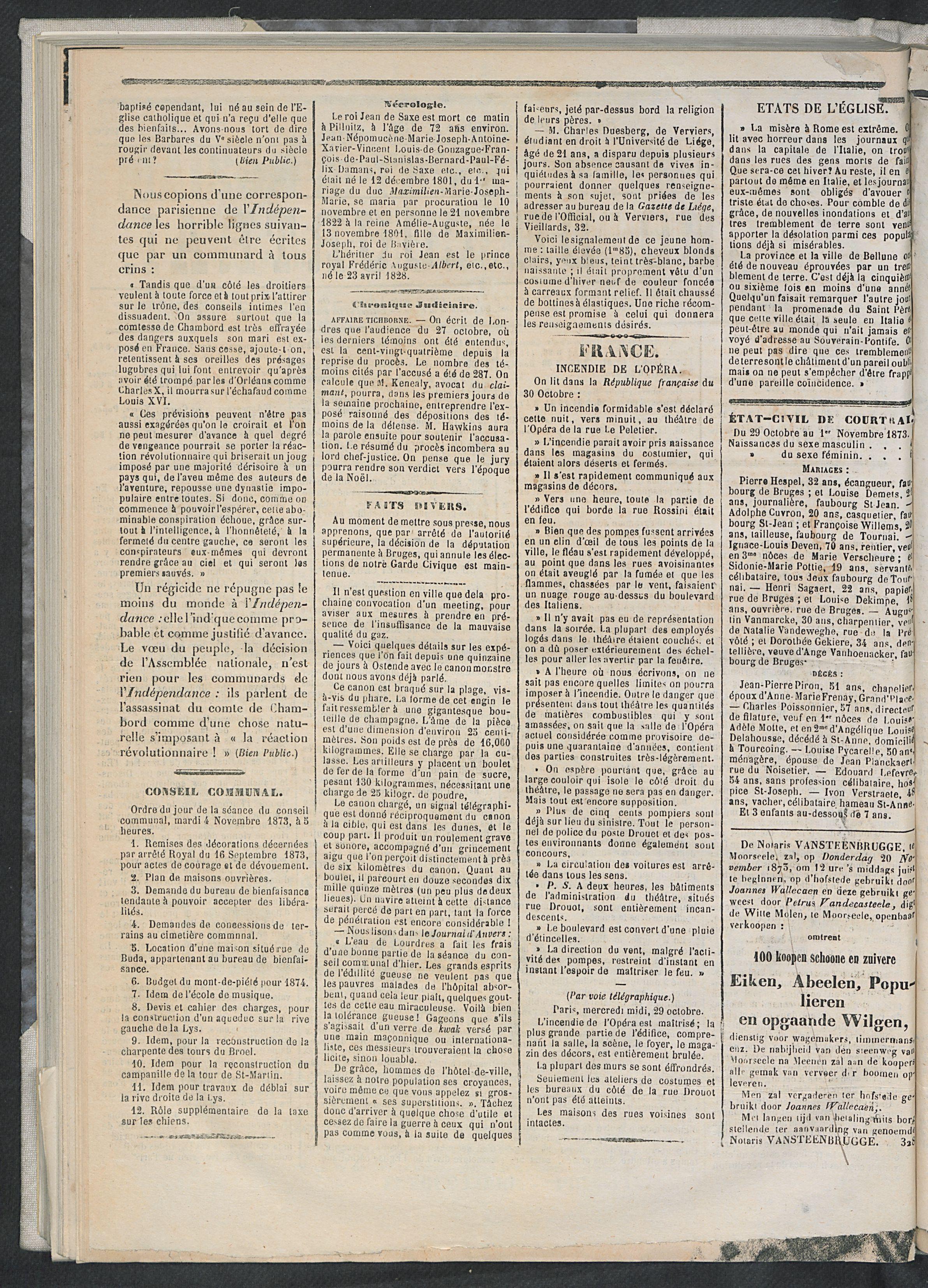 L'echo De Courtrai 1873-11-01 p2