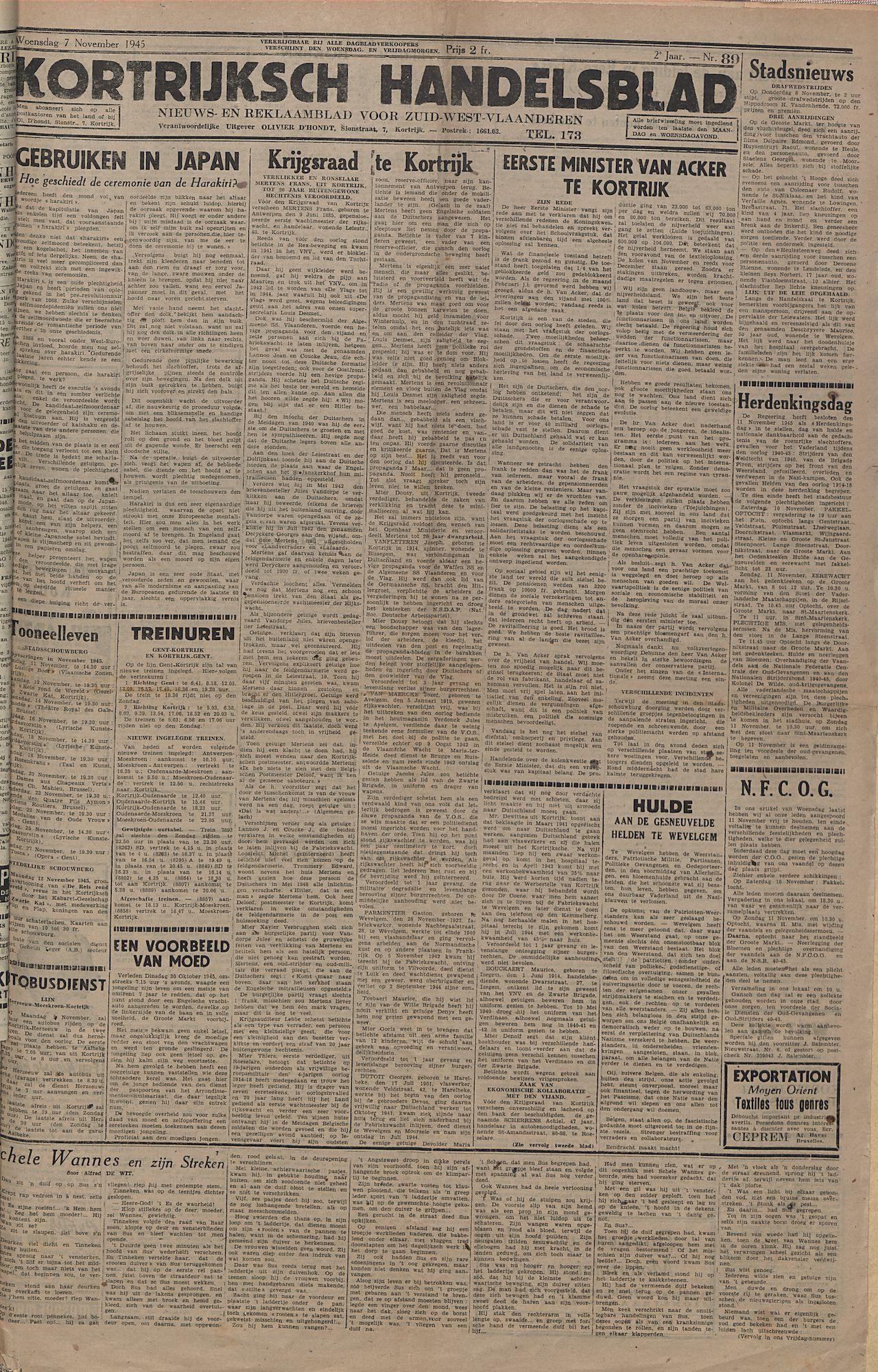 Kortrijksch Handelsblad 7 november 1945 Nr89 p1