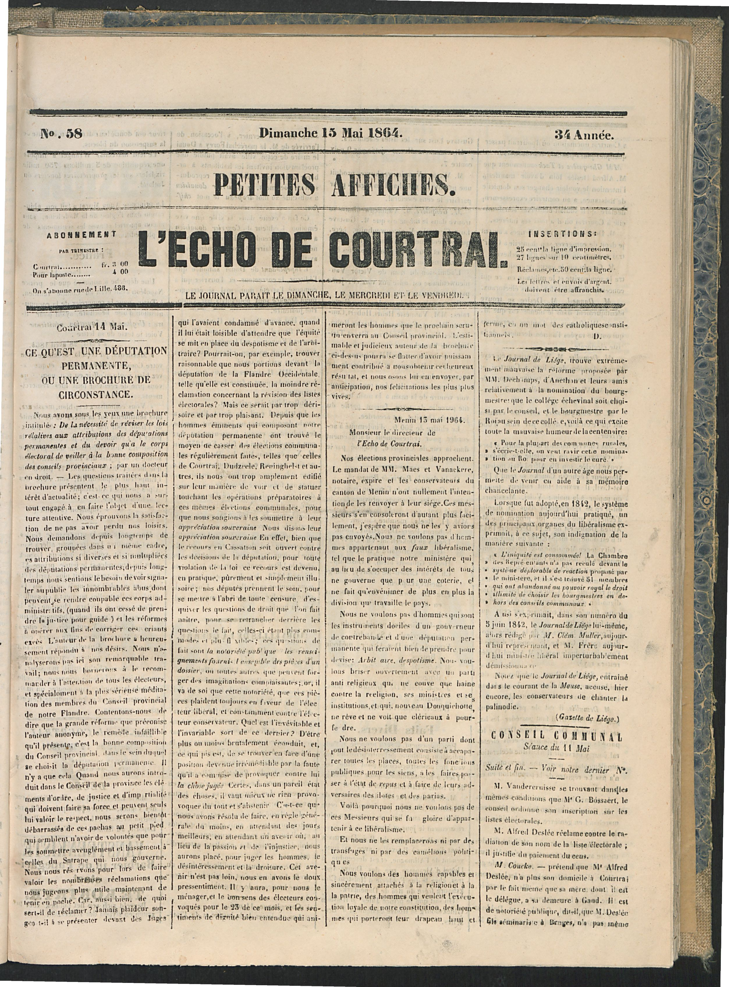 L'echo De Courtrai 1864-05-15 p1