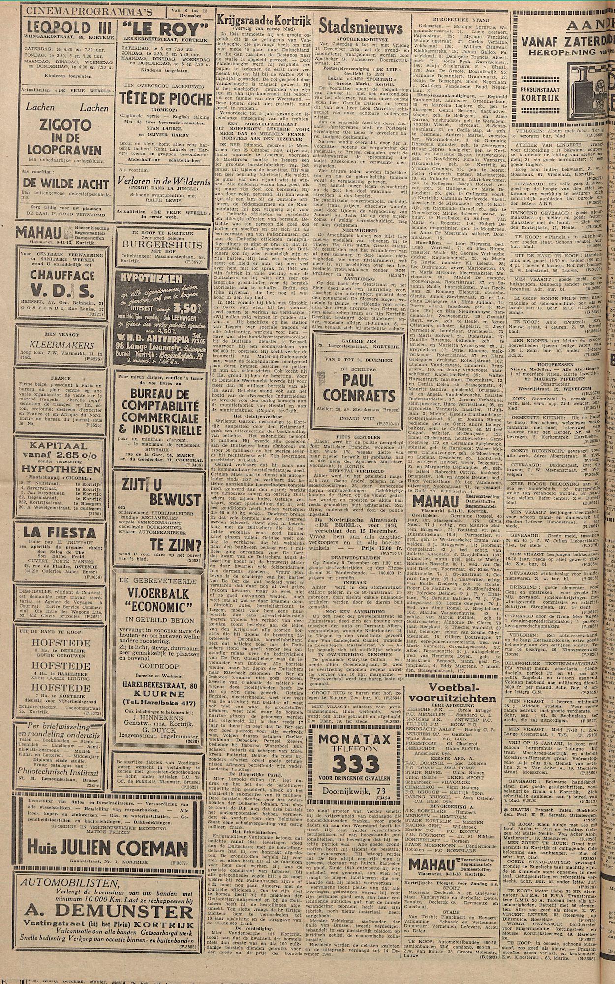 Kortrijksch Handelsblad 7 december 1945 Nr98 p2