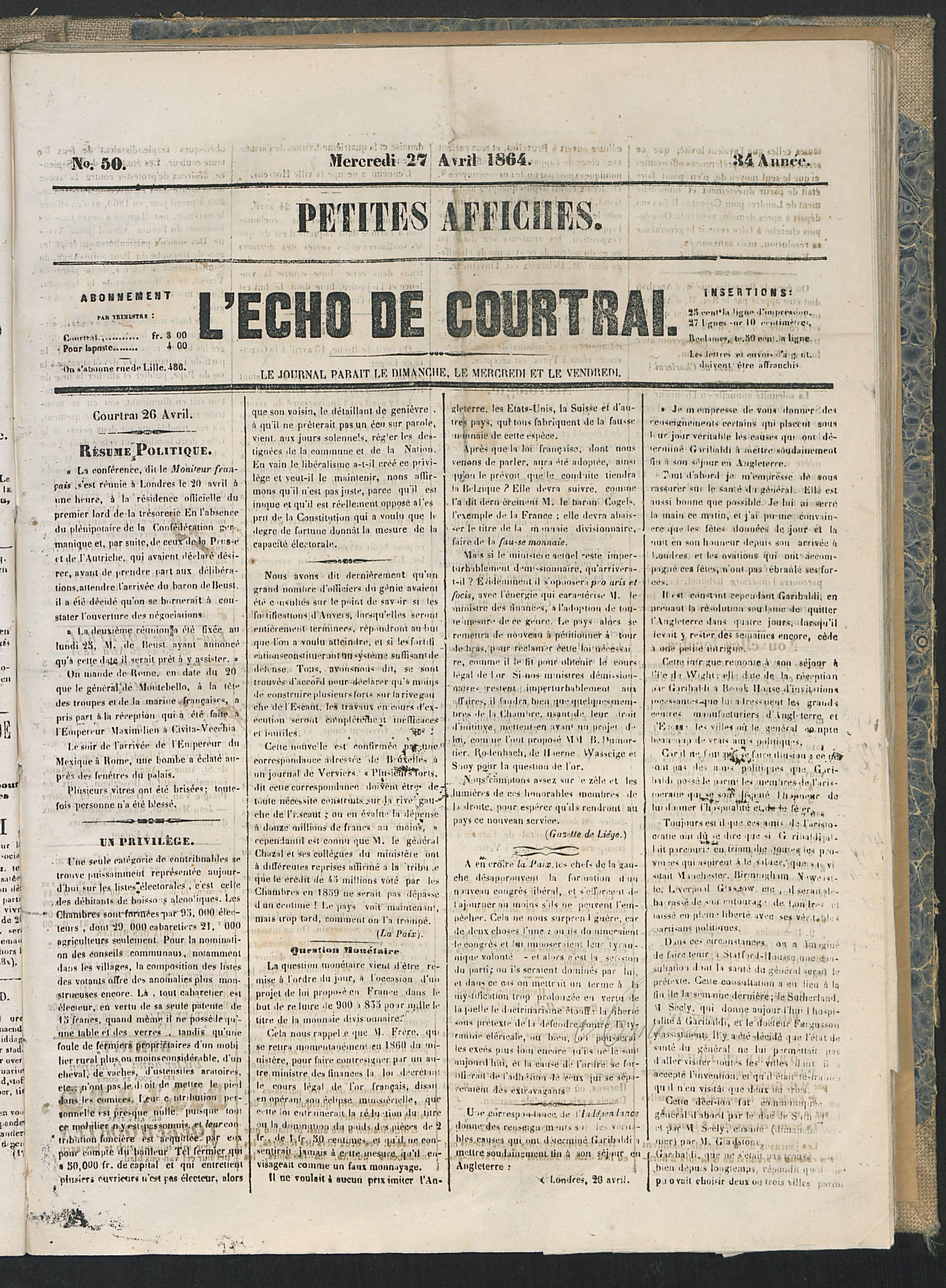 L'echo De Courtrai 1864-04-27 p1