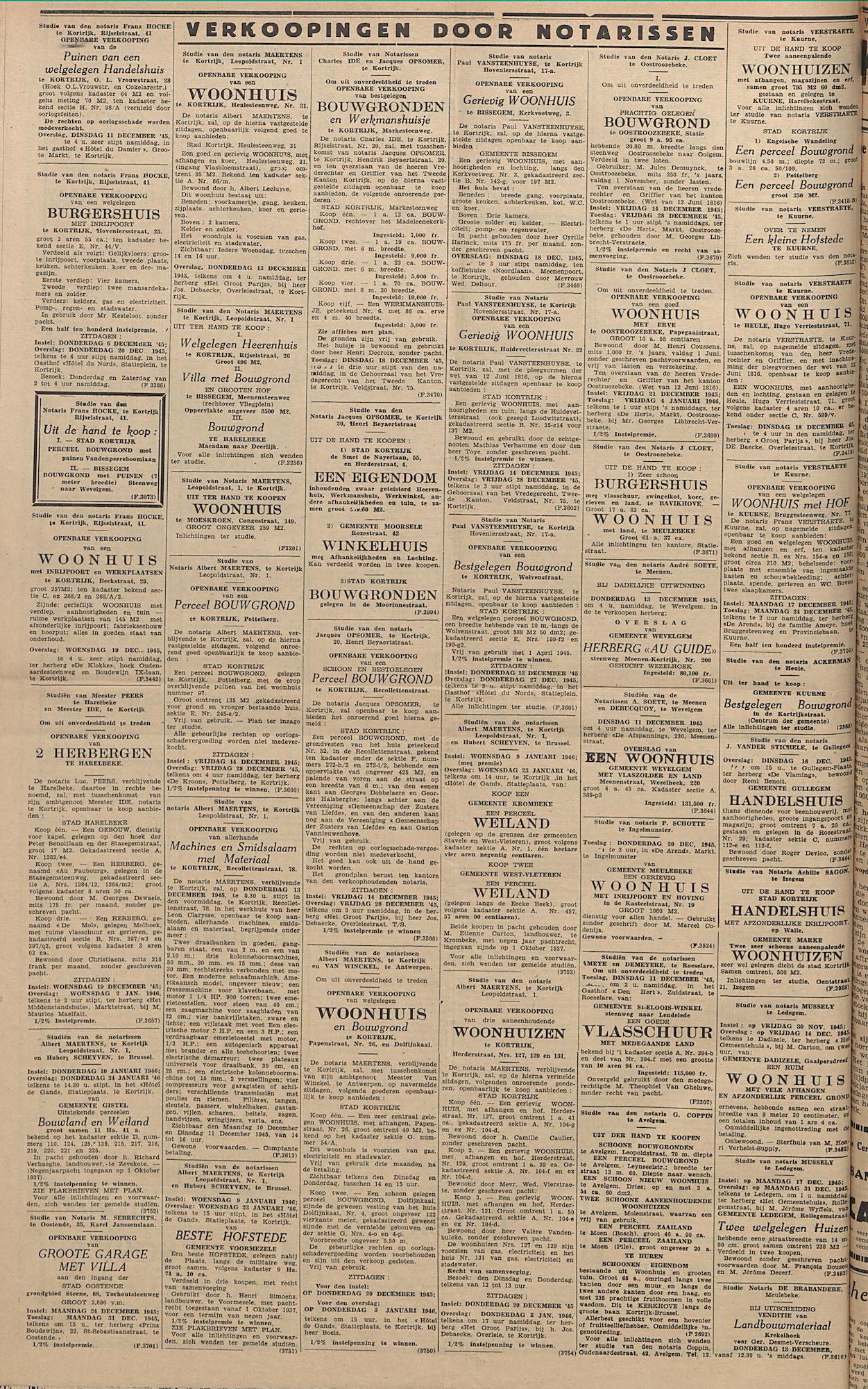 Kortrijksch Handelsblad 7 december 1945 Nr98 p4