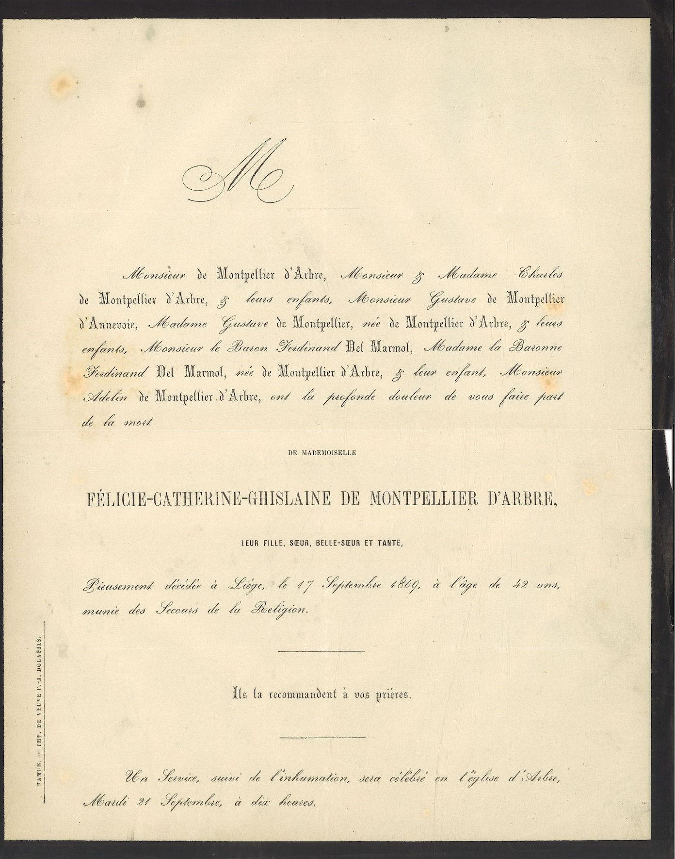 Félicie-Catherine-Ghislaine de Montpellier d' Arbre