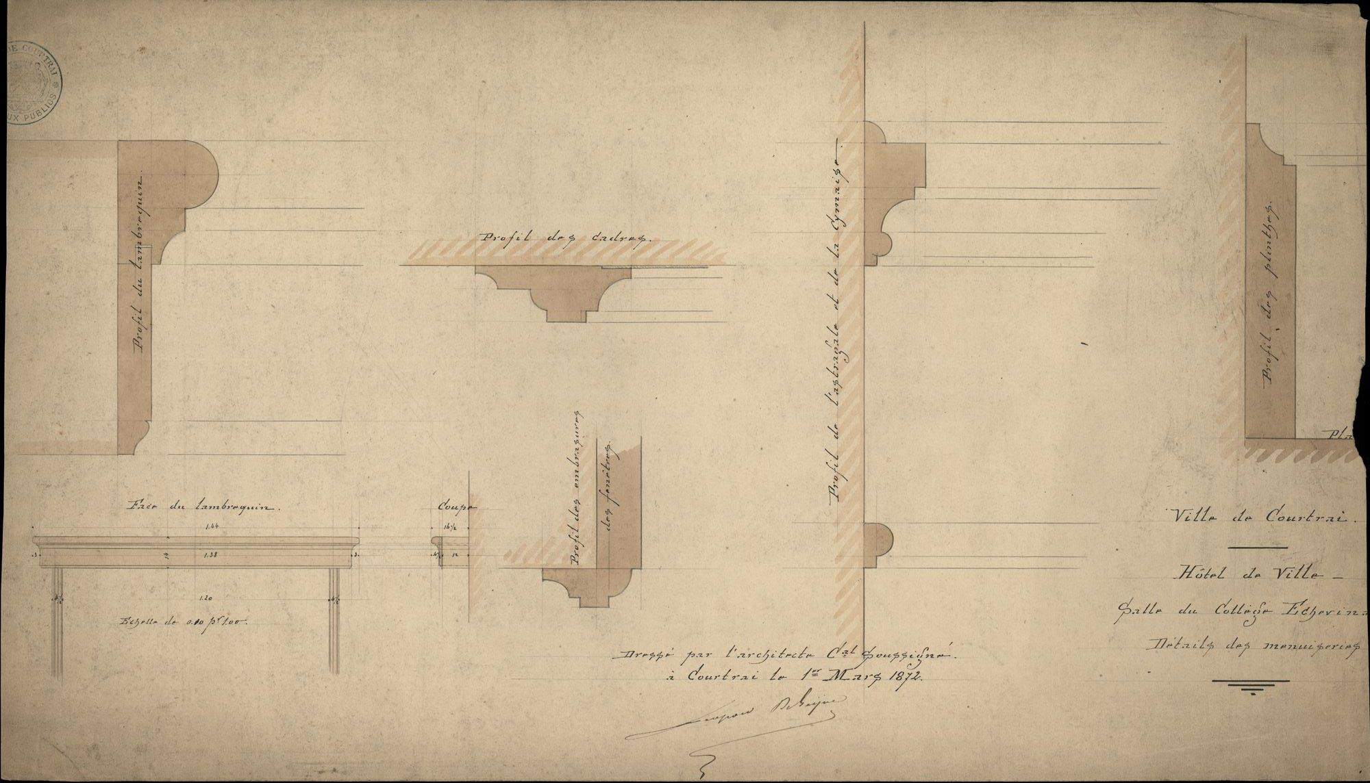 Plattegronden en figuratieve tekeningen i.v.m. tafel en stoelen voor de gemeenteraadszaal in het stadhuis te Kortrijk, 1872-1912
