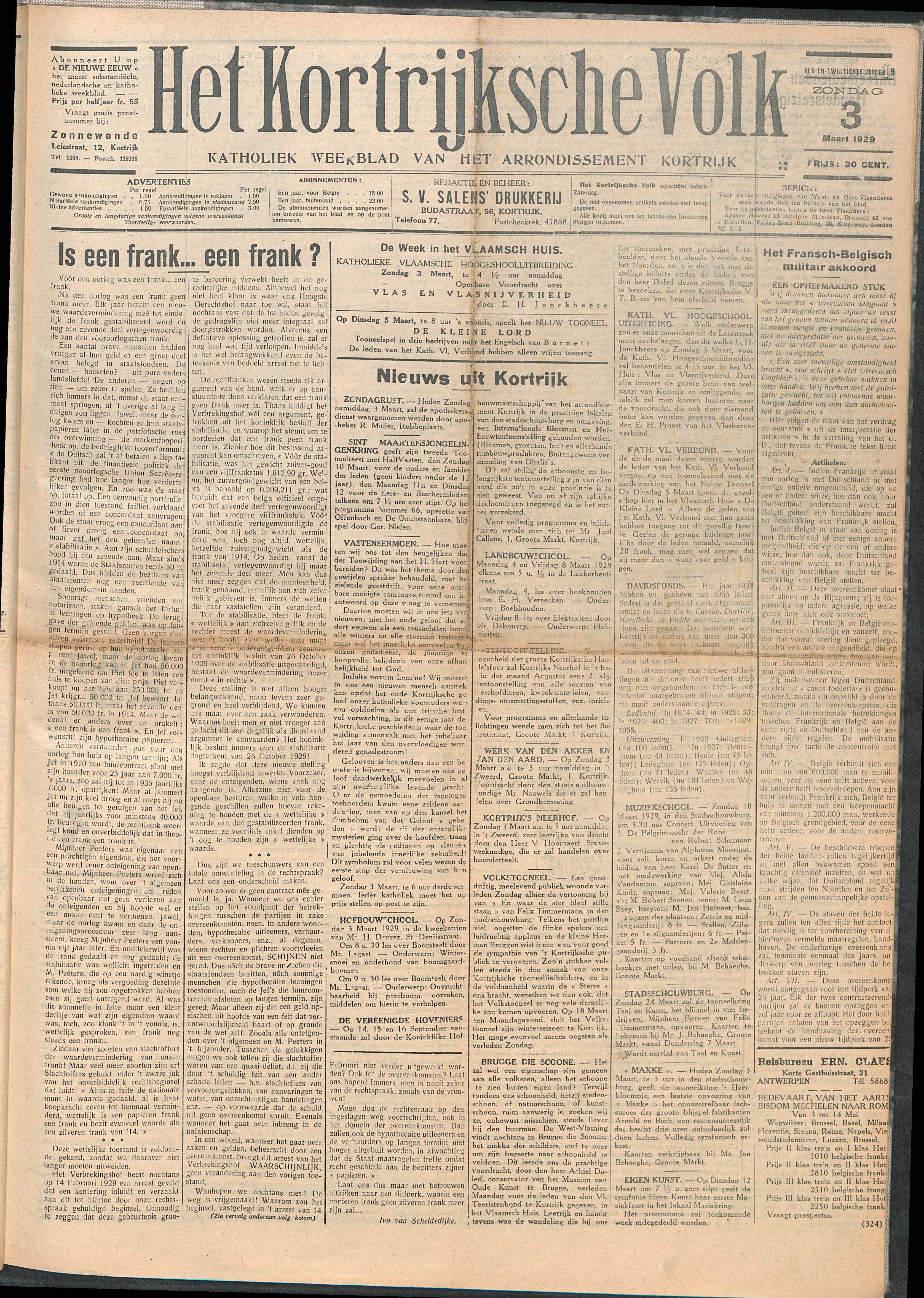 Het Kortrijksche Volk 1929-03-03 p1