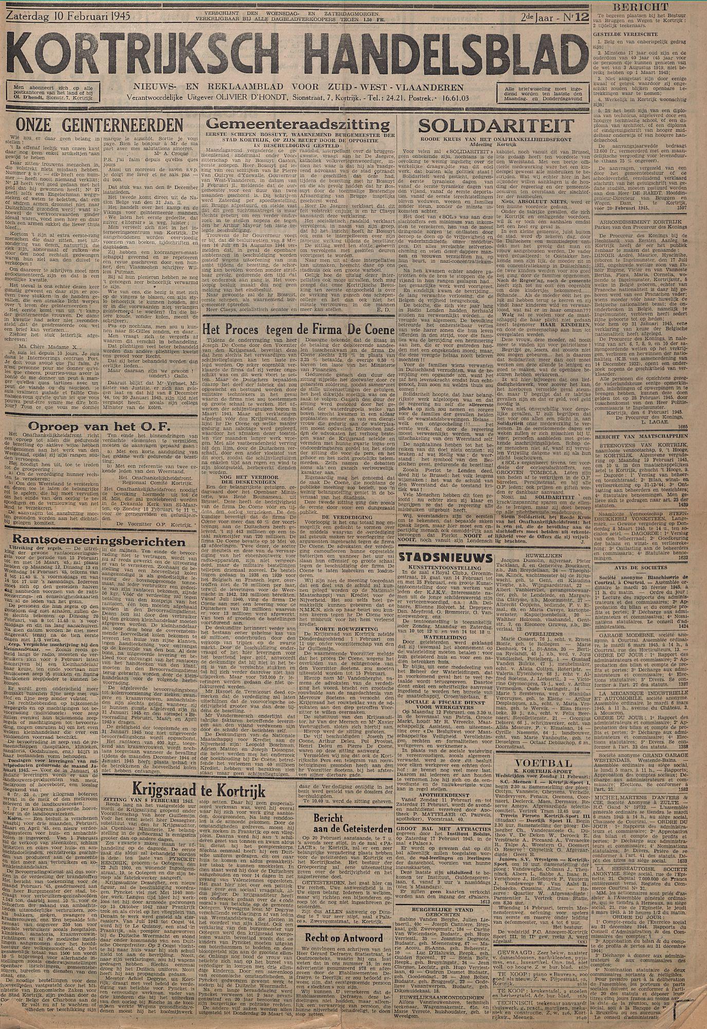 Kortrijksch Handelsblad 10 februari 1945 Nr12 p1