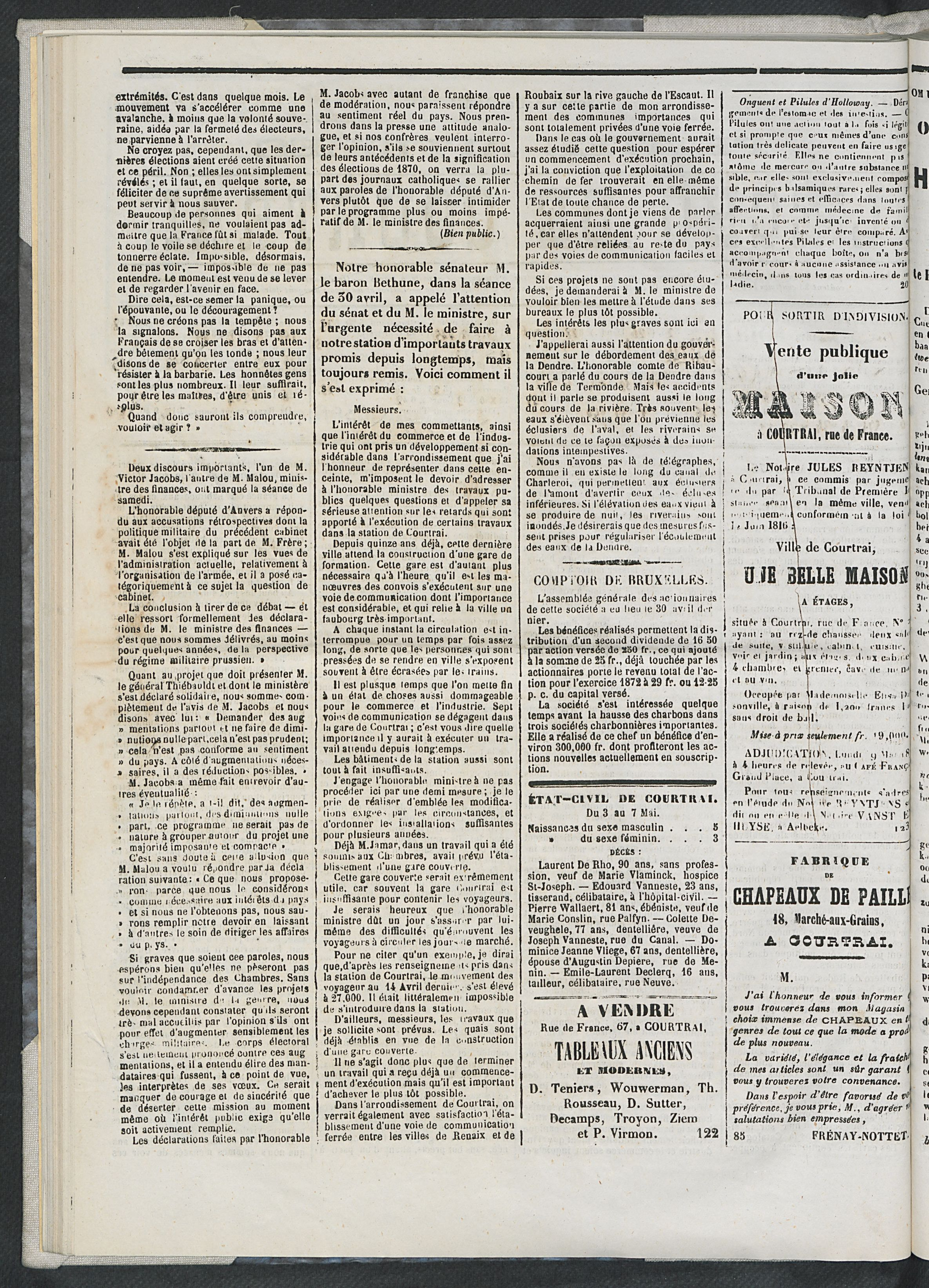 L'echo De Courtrai 1873-05-08 p2