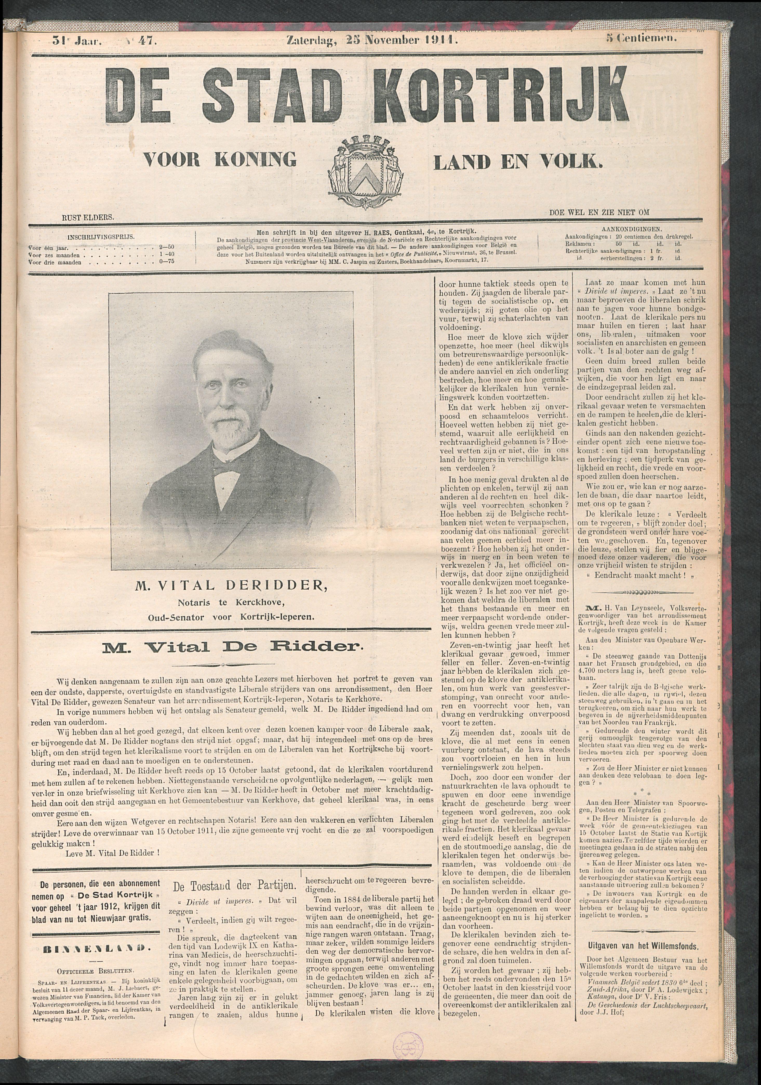 De Stad Kortrijk 1911-11-25 p1