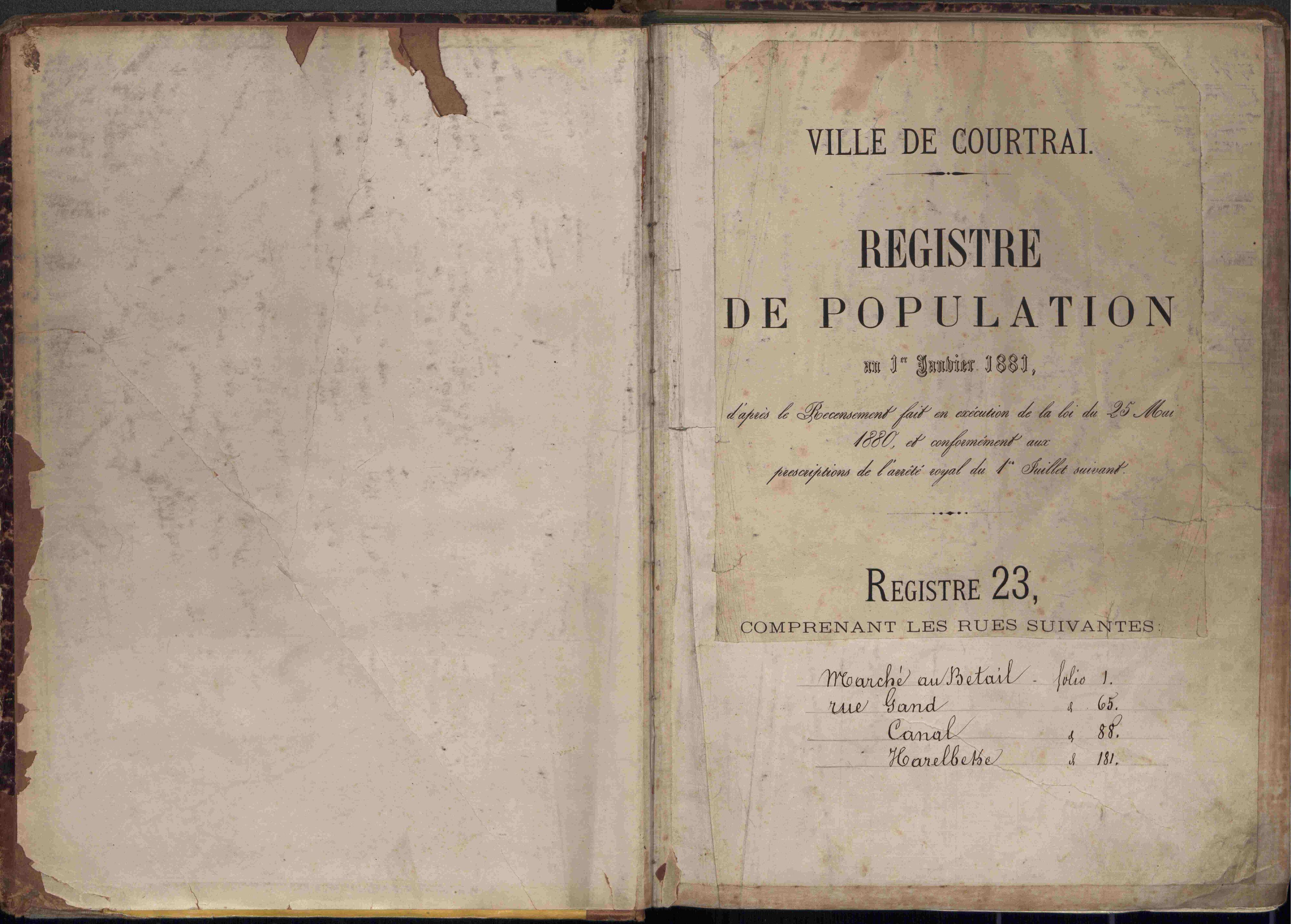 Bevolkingsregister Kortrijk 1880 boek 23