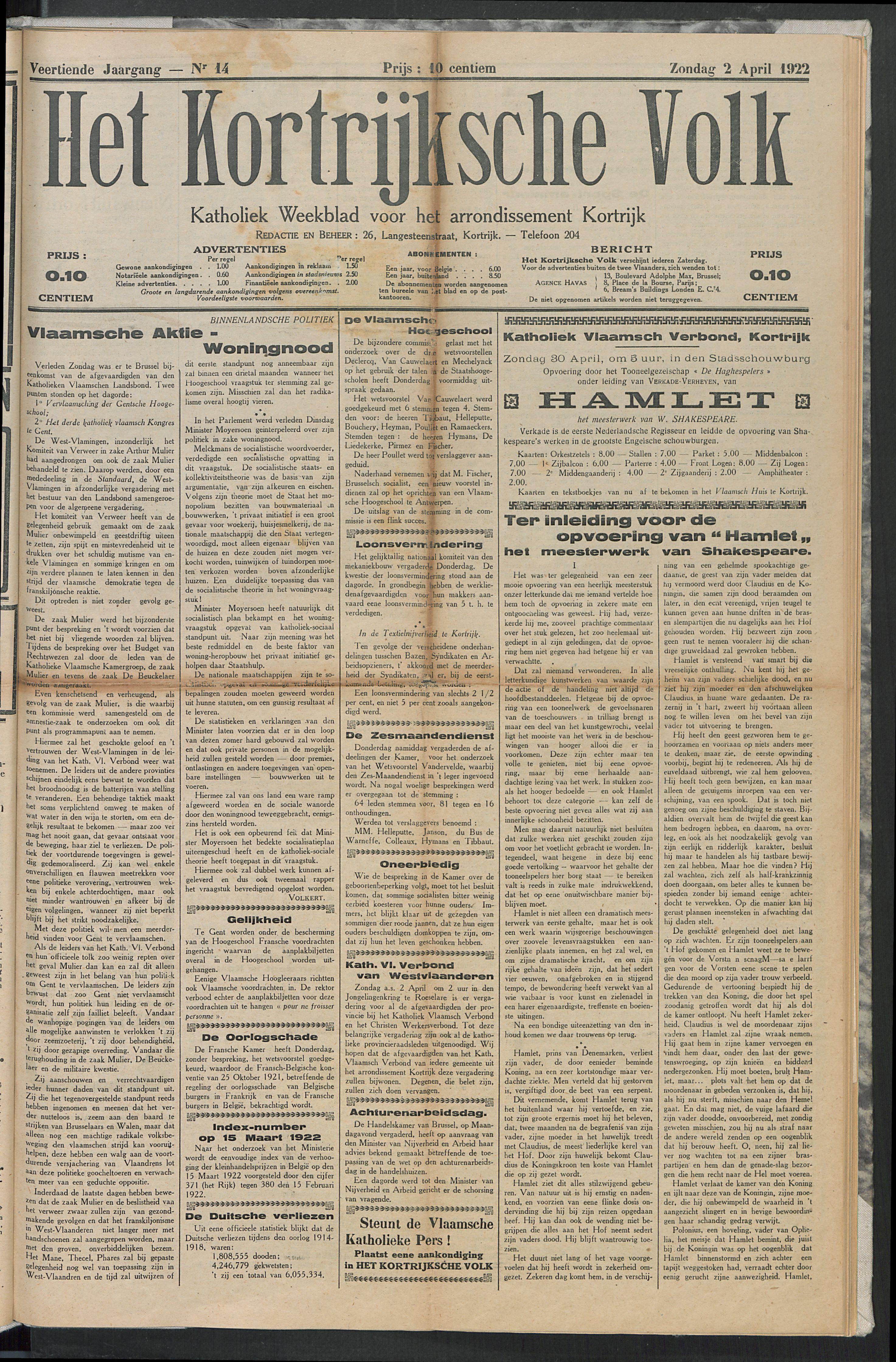 Het Kortrijksche Volk 1922-04-02 p1