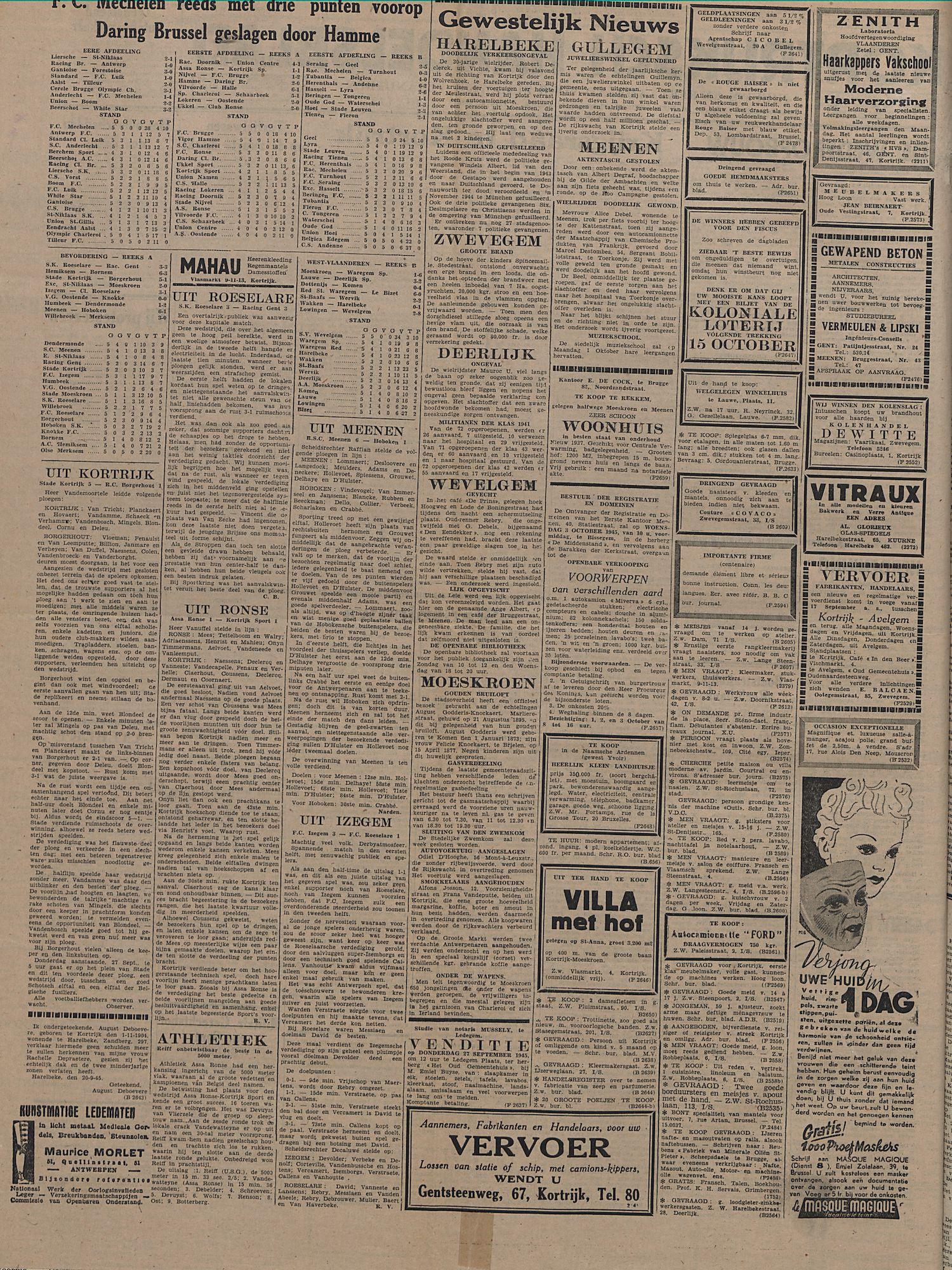 Kortrijksch Handelsblad 26 september 1945 Nr77 p2