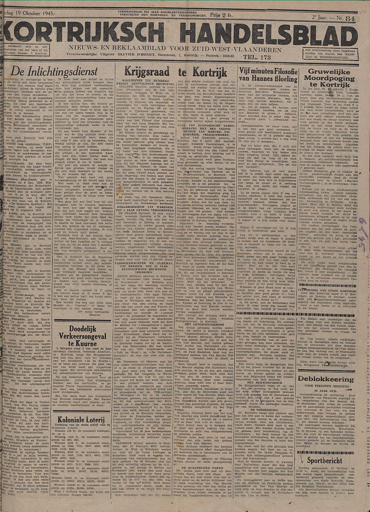 Kortrijksch Handelsblad 19 october 1945 Nr84 p1