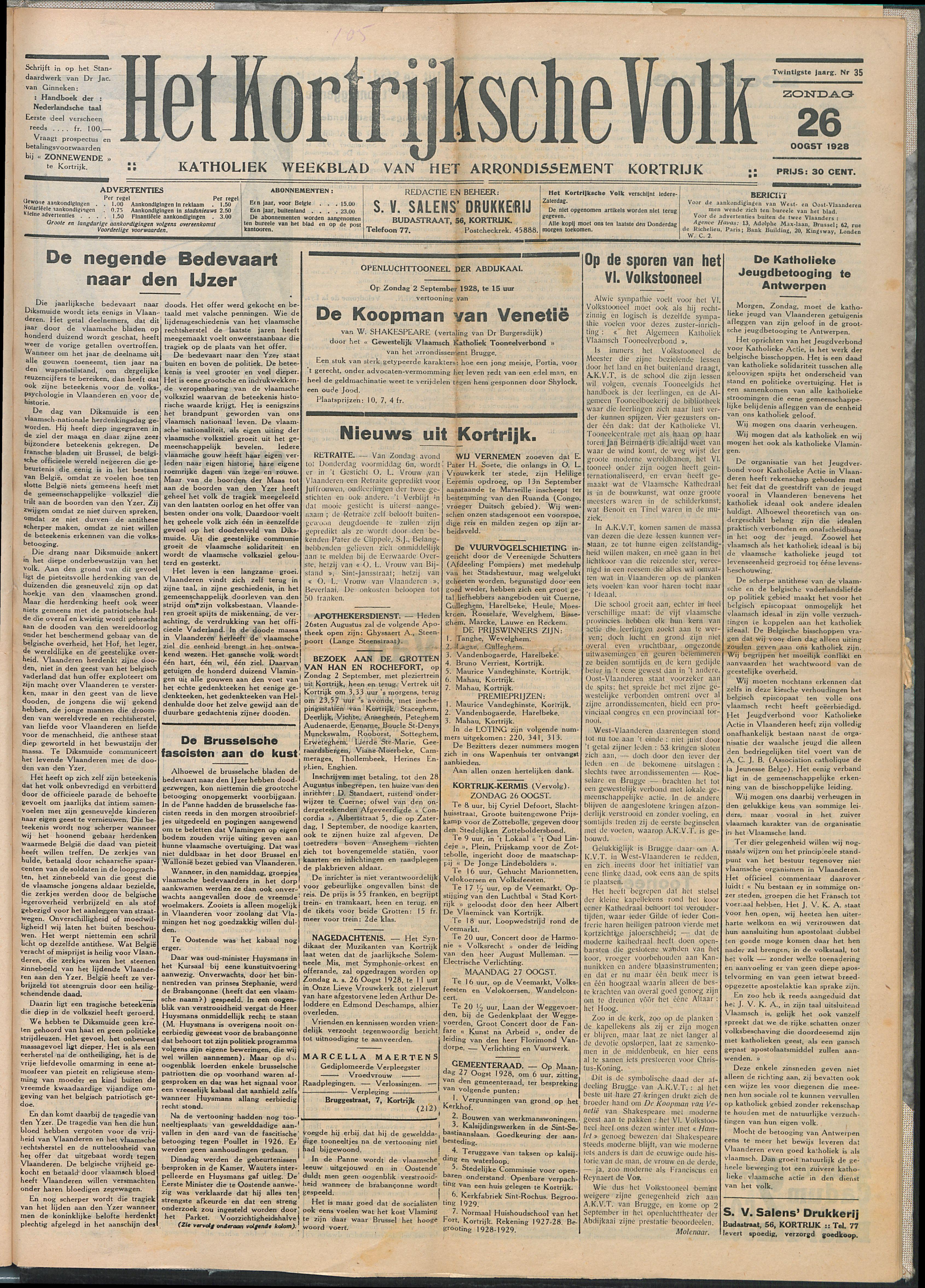 Het Kortrijksche Volk 1928-08-26 p1