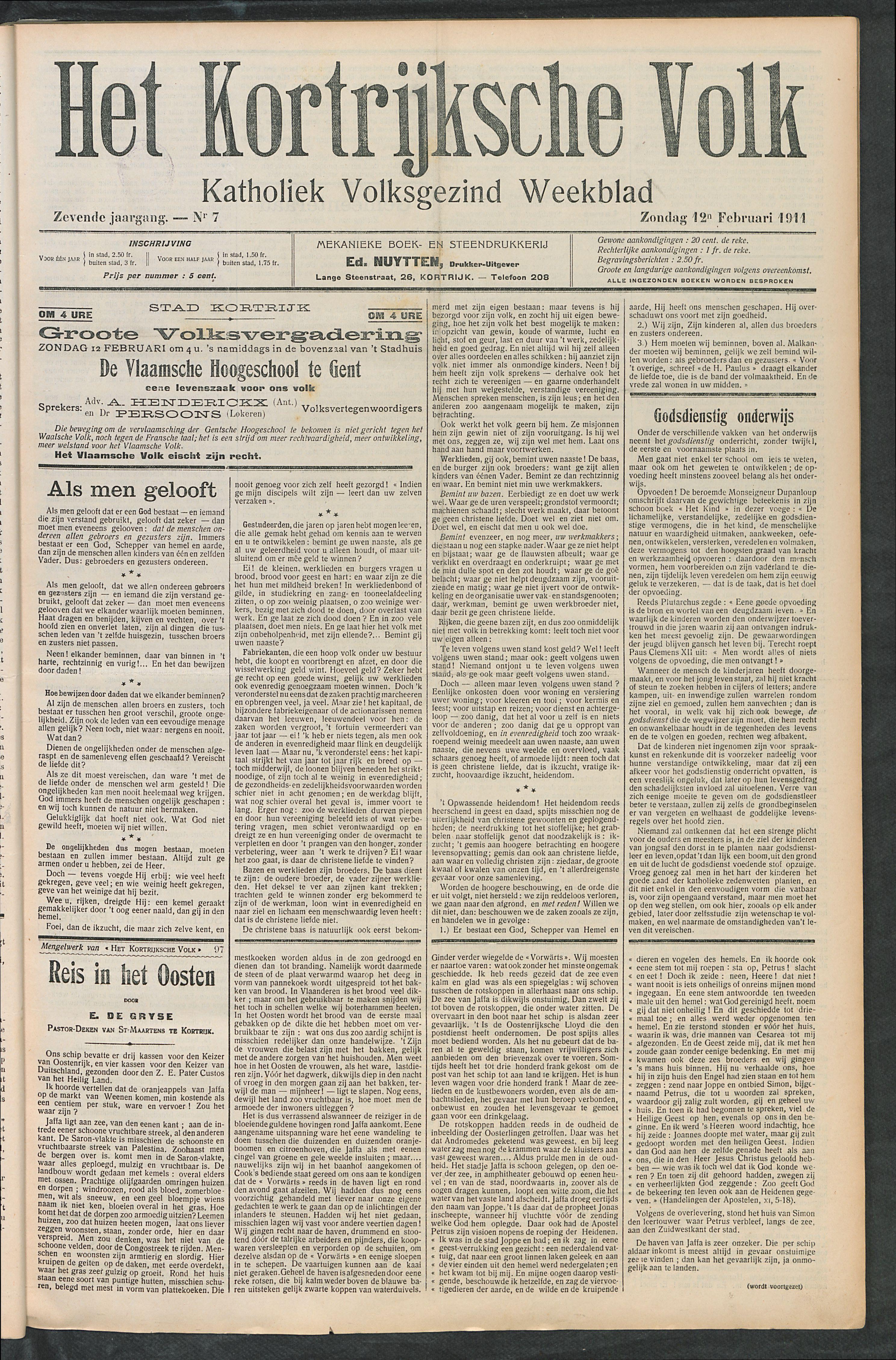 Het Kortrijksche Volk 1911-02-12 p1