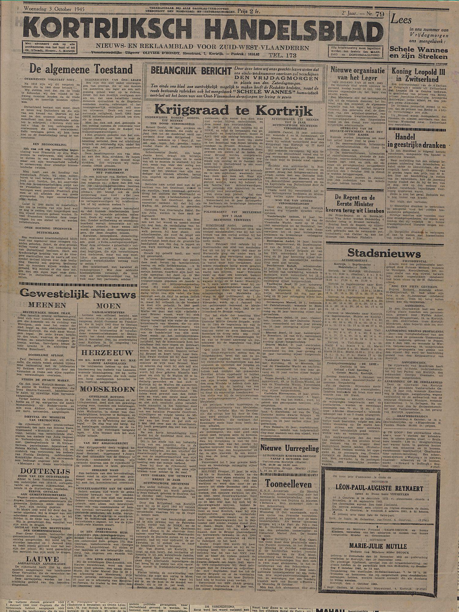 Kortrijksch Handelsblad 3 october 1945 Nr79 p1