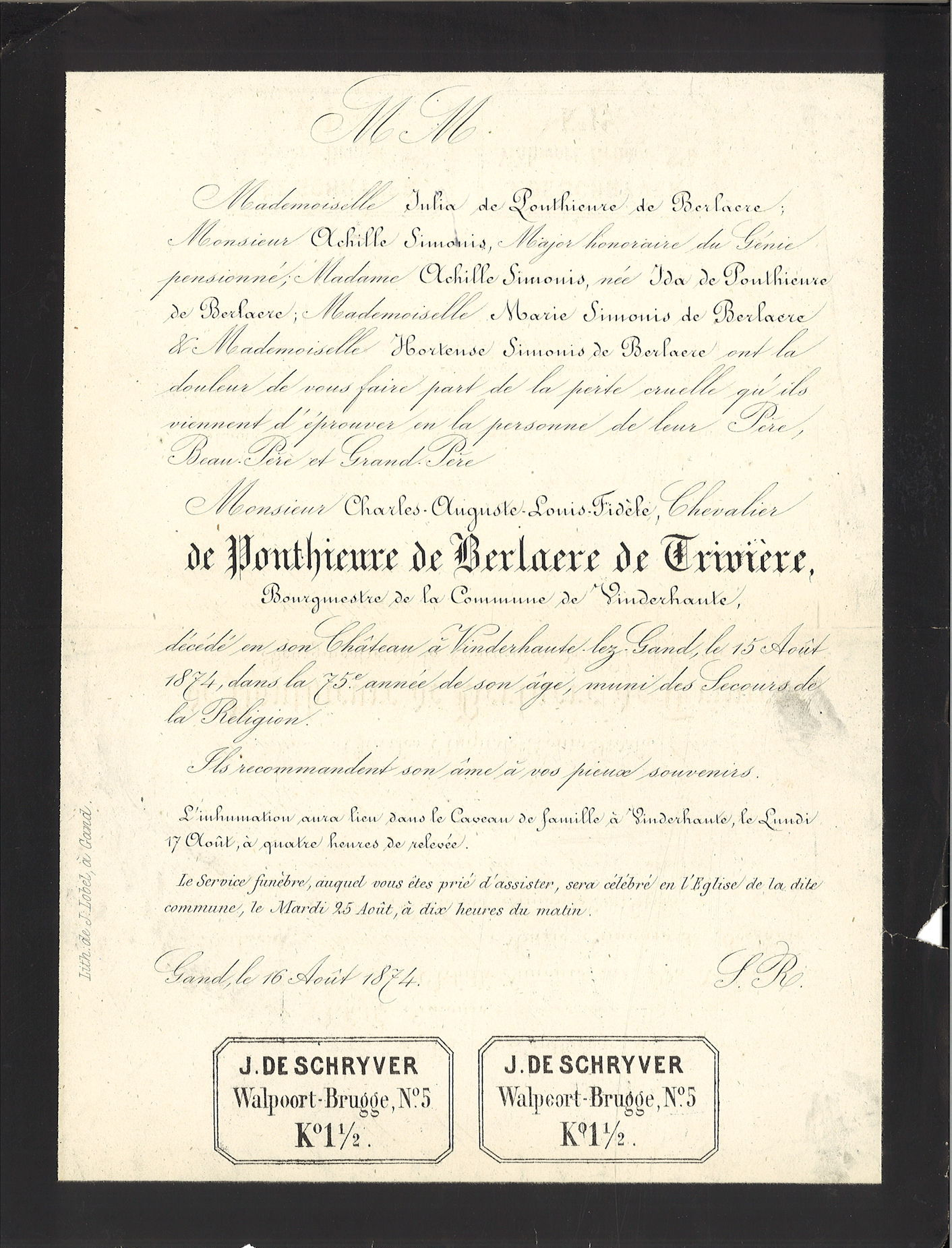 Charles-August-Louis-Fidlèle de Ponthiere de Berlaere de Trivière
