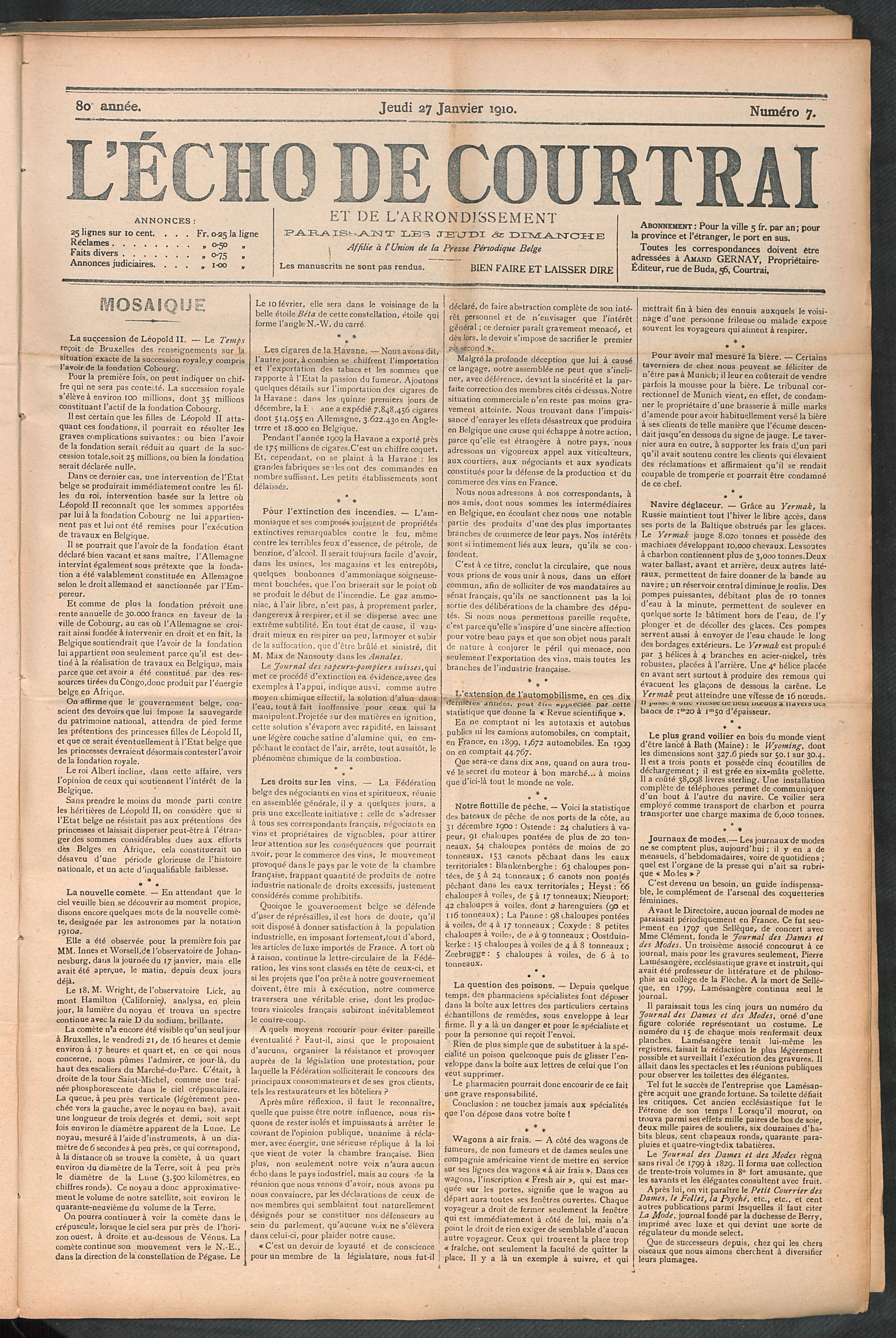 L'echo De Courtrai 1910-01-27 p1
