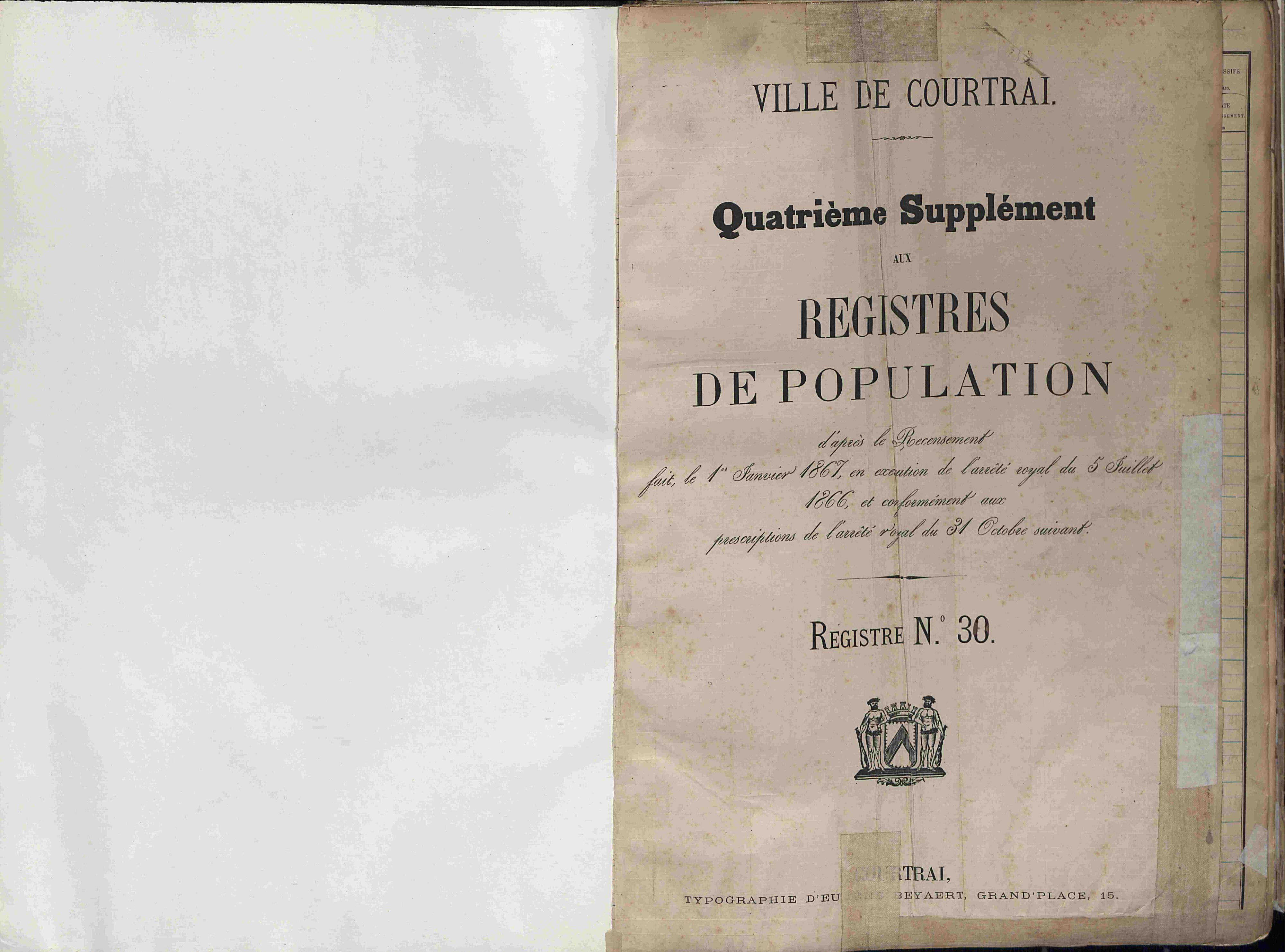 Bevolkingsregister Kortrijk 1866 boek 30