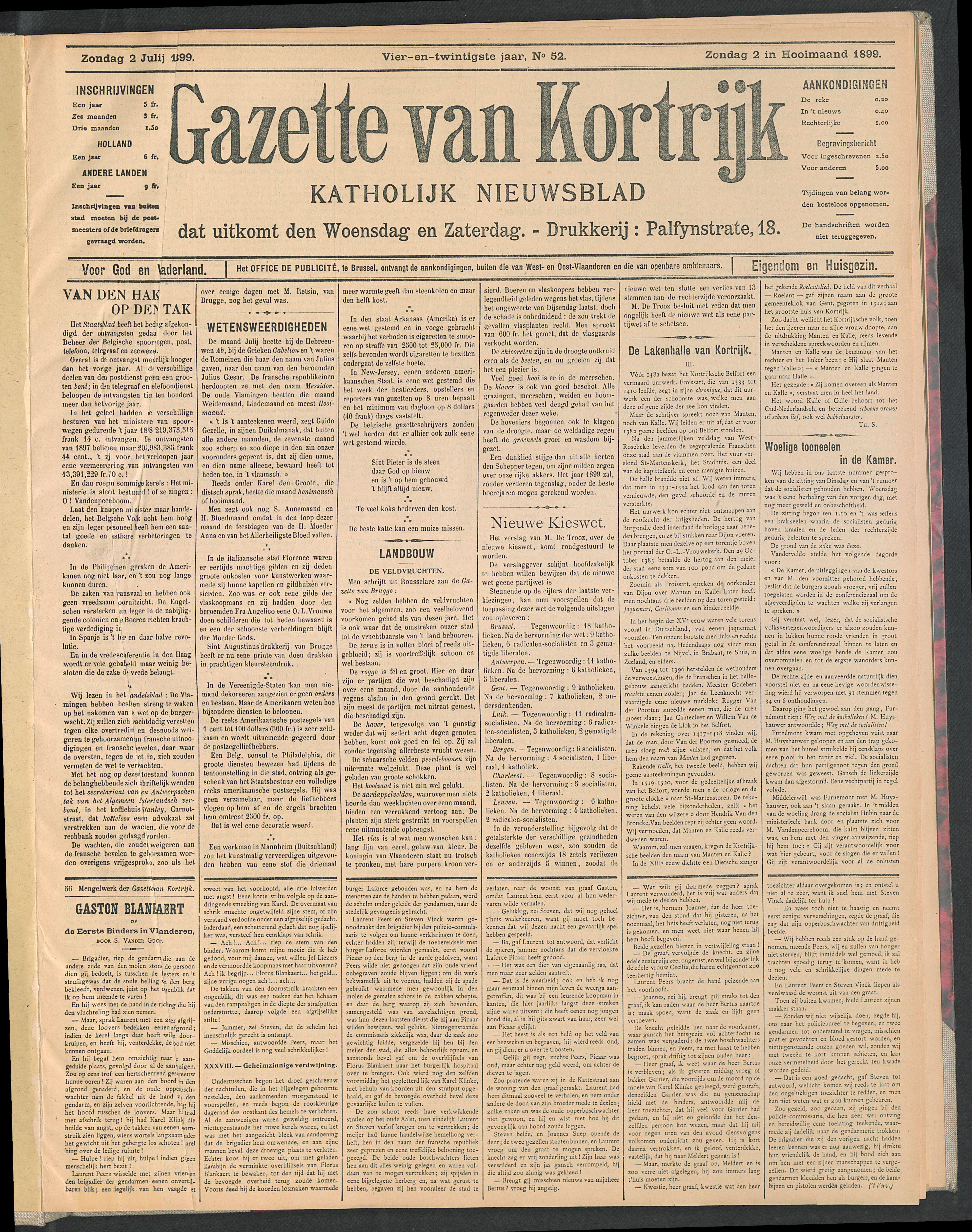 Gazette Van Kortrijk 1899-07-02 p1