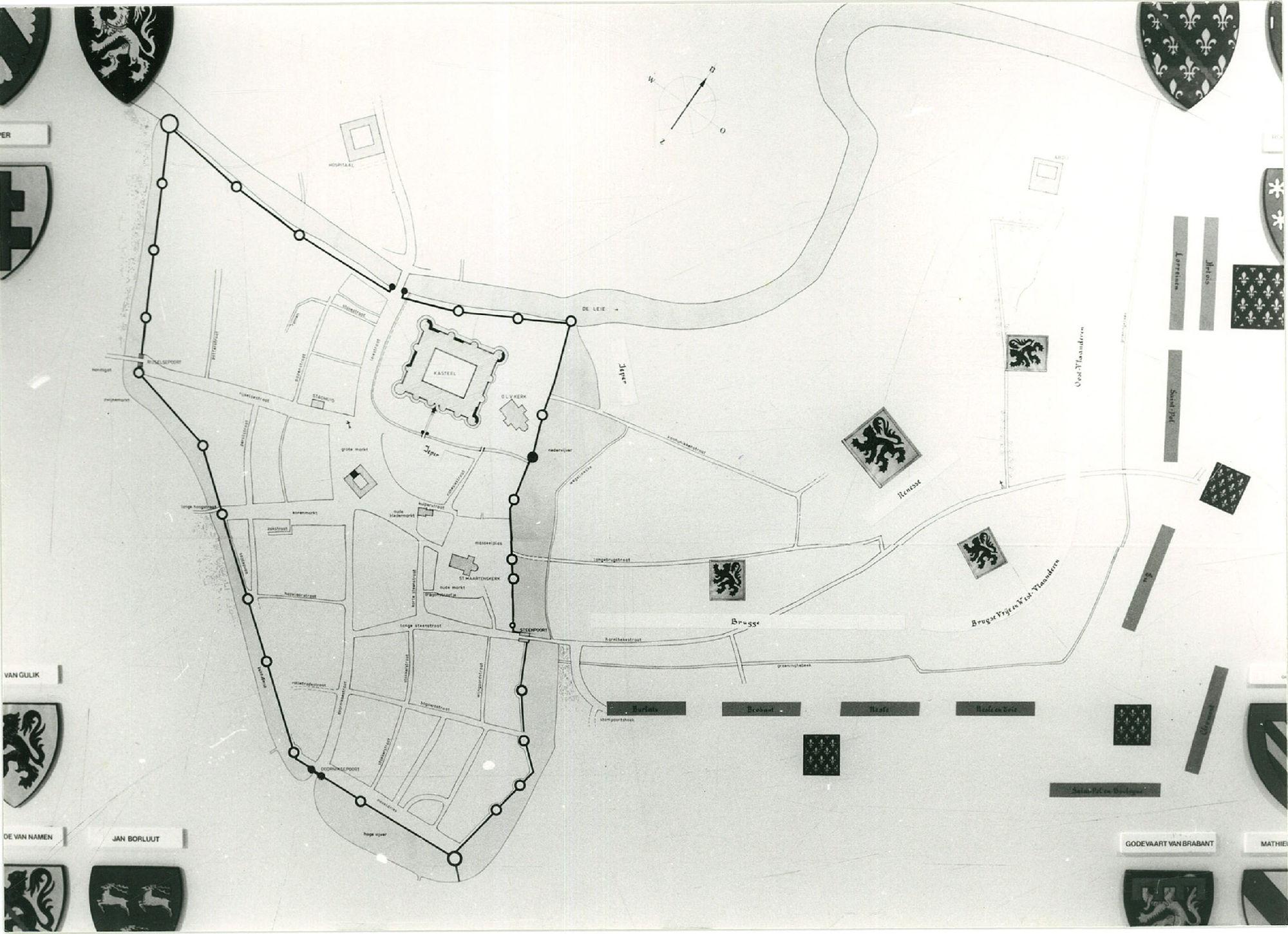 Reconstructie van Kortrijk rond 1306