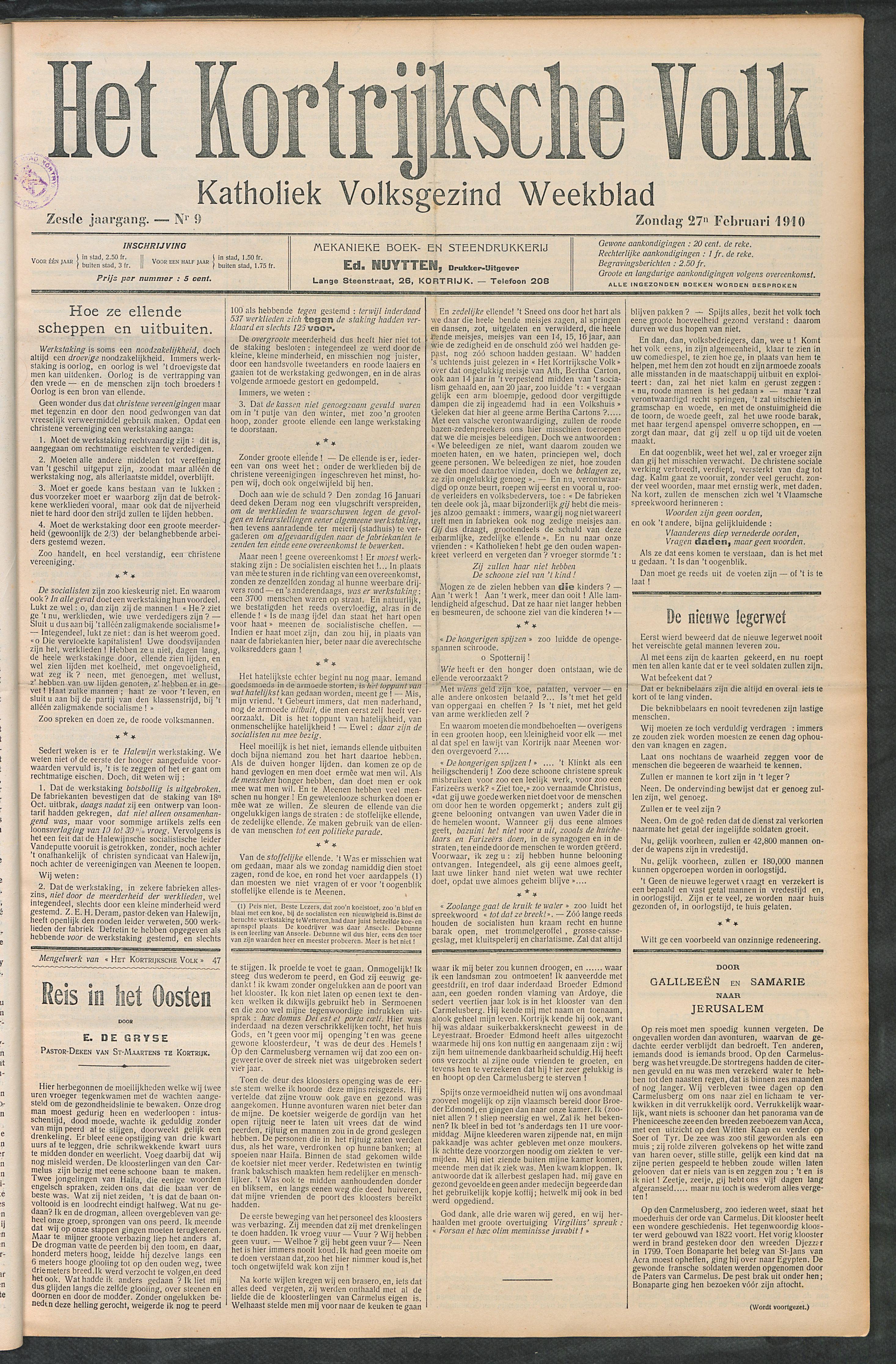 Het Kortrijksche Volk 1910-02-27 p1