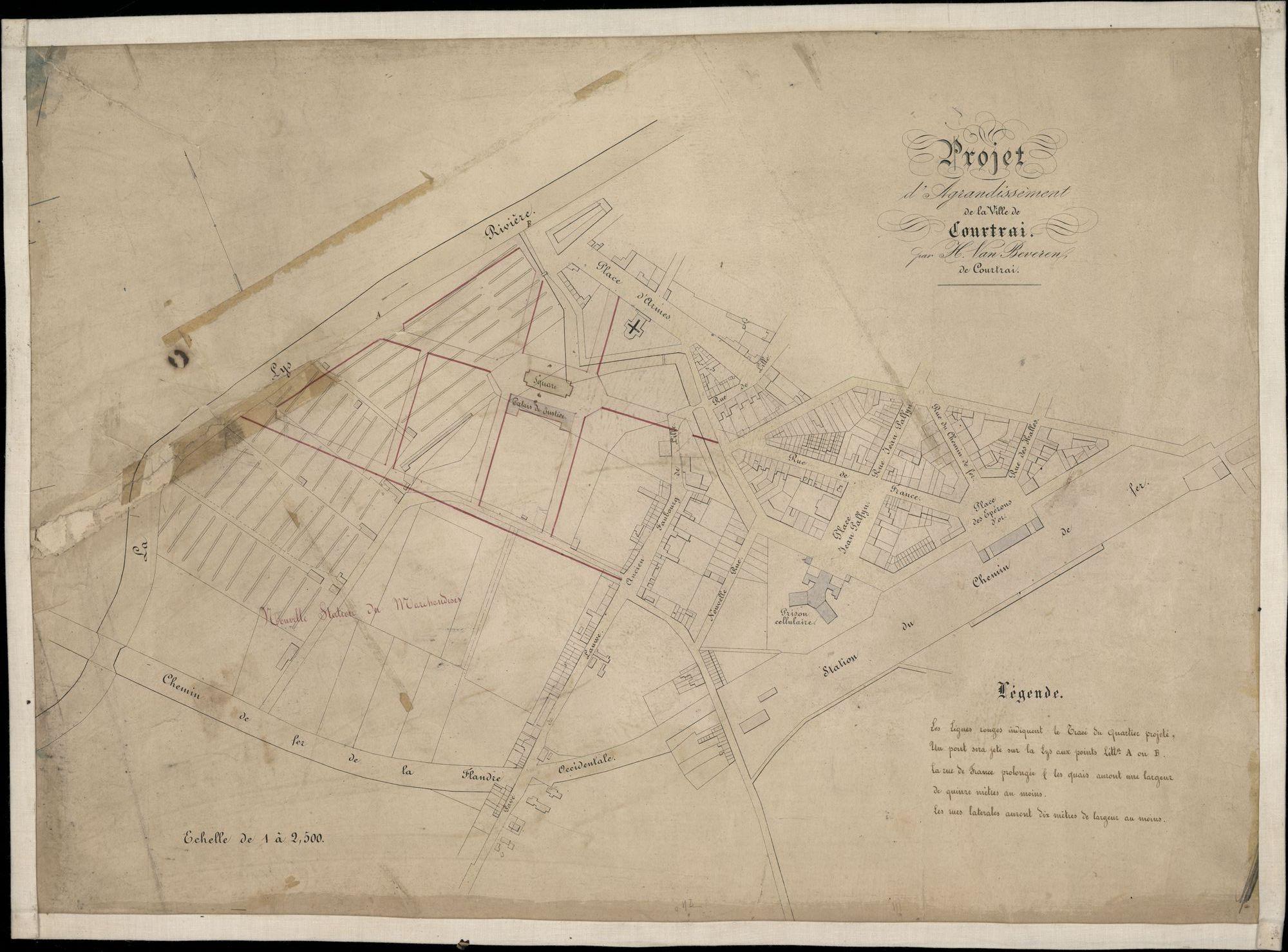Plattegrond met ontwerp van uitbreiding aan de westkant van de stad Kortrijk, begrensd door de Leie, de spoorweg, het station, de Sint-Jorisstraat, het President Rooseveltplein, opgemaakt door H. Van Beveren, 1864