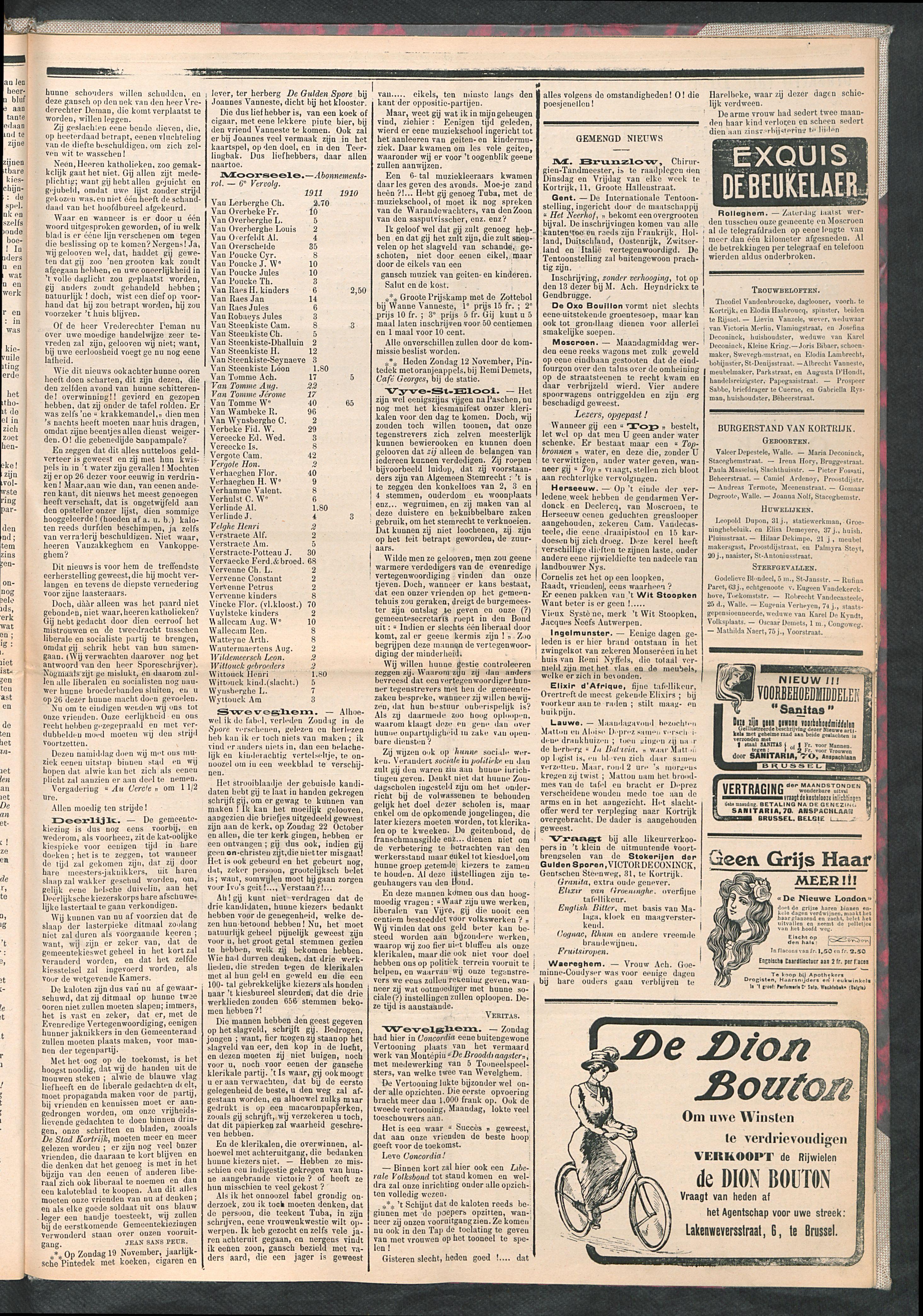 De Stad Kortrijk 1911-11-11 p3