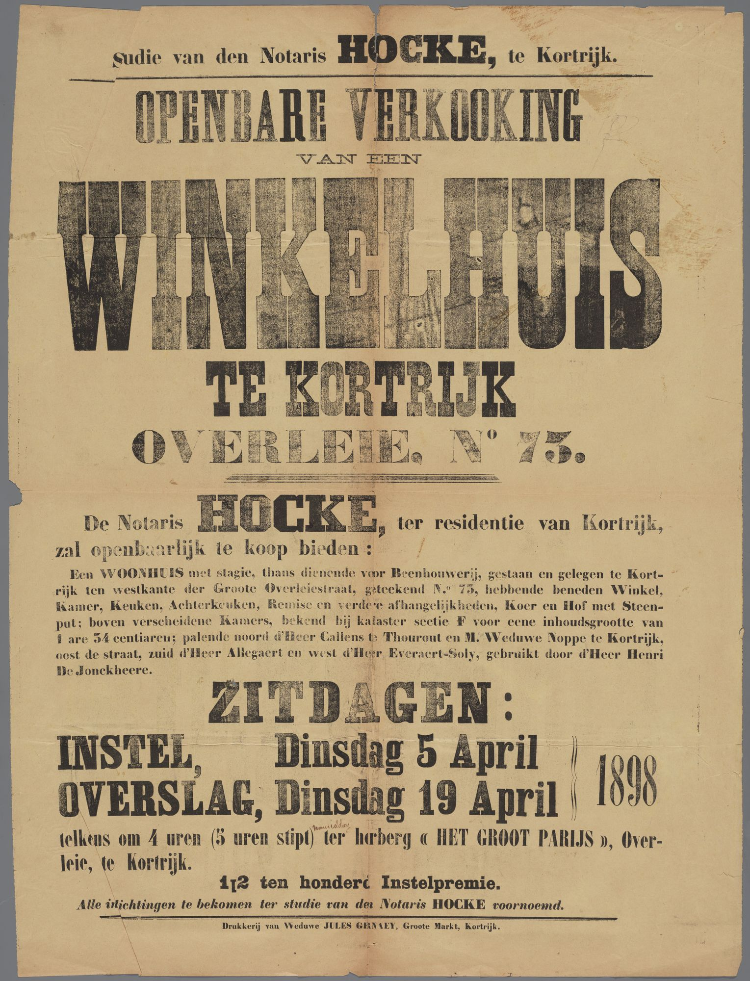 Openbare verkoop van een winkelpand 1898