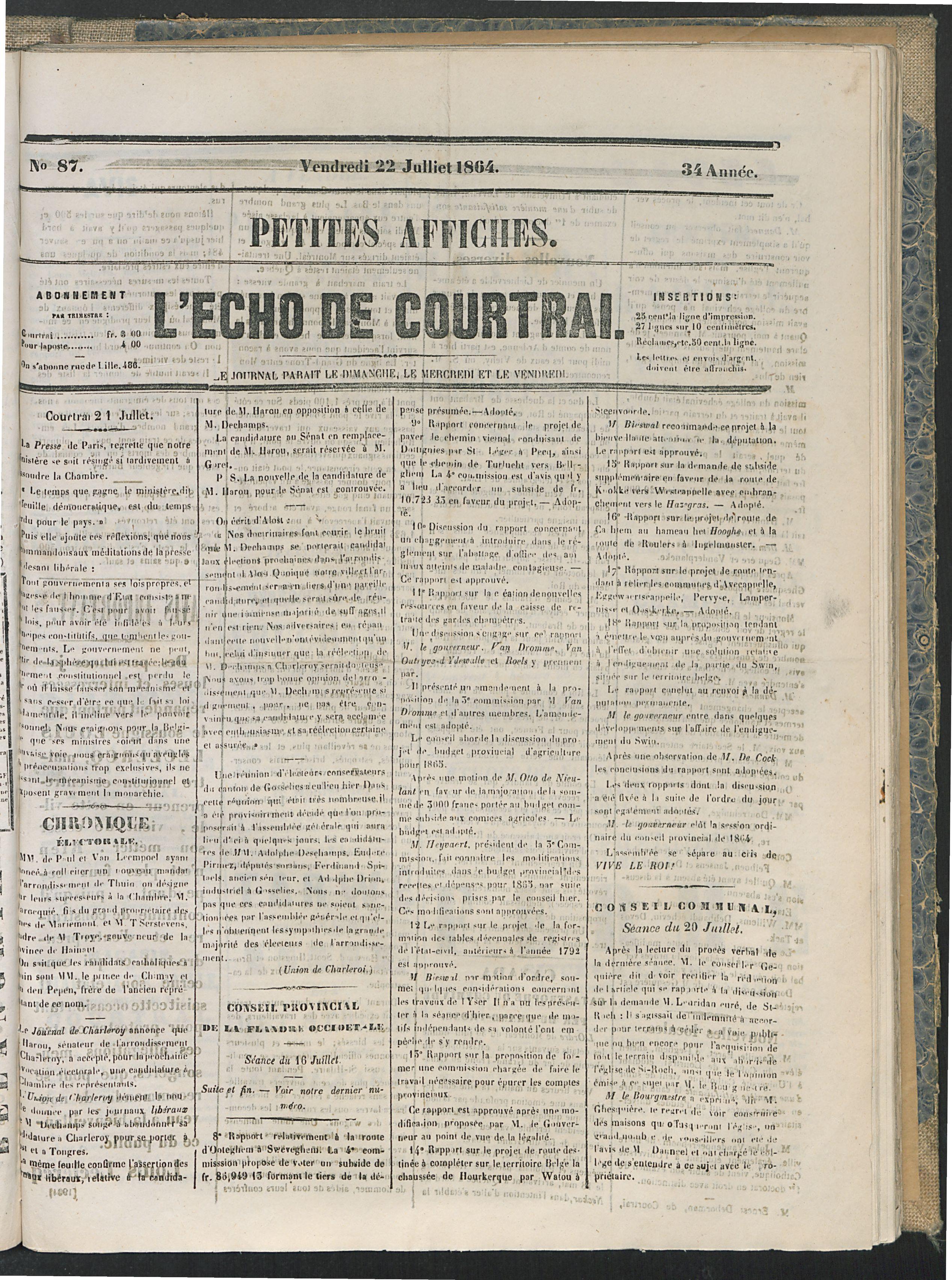 L'echo De Courtrai 1864-07-22 p1