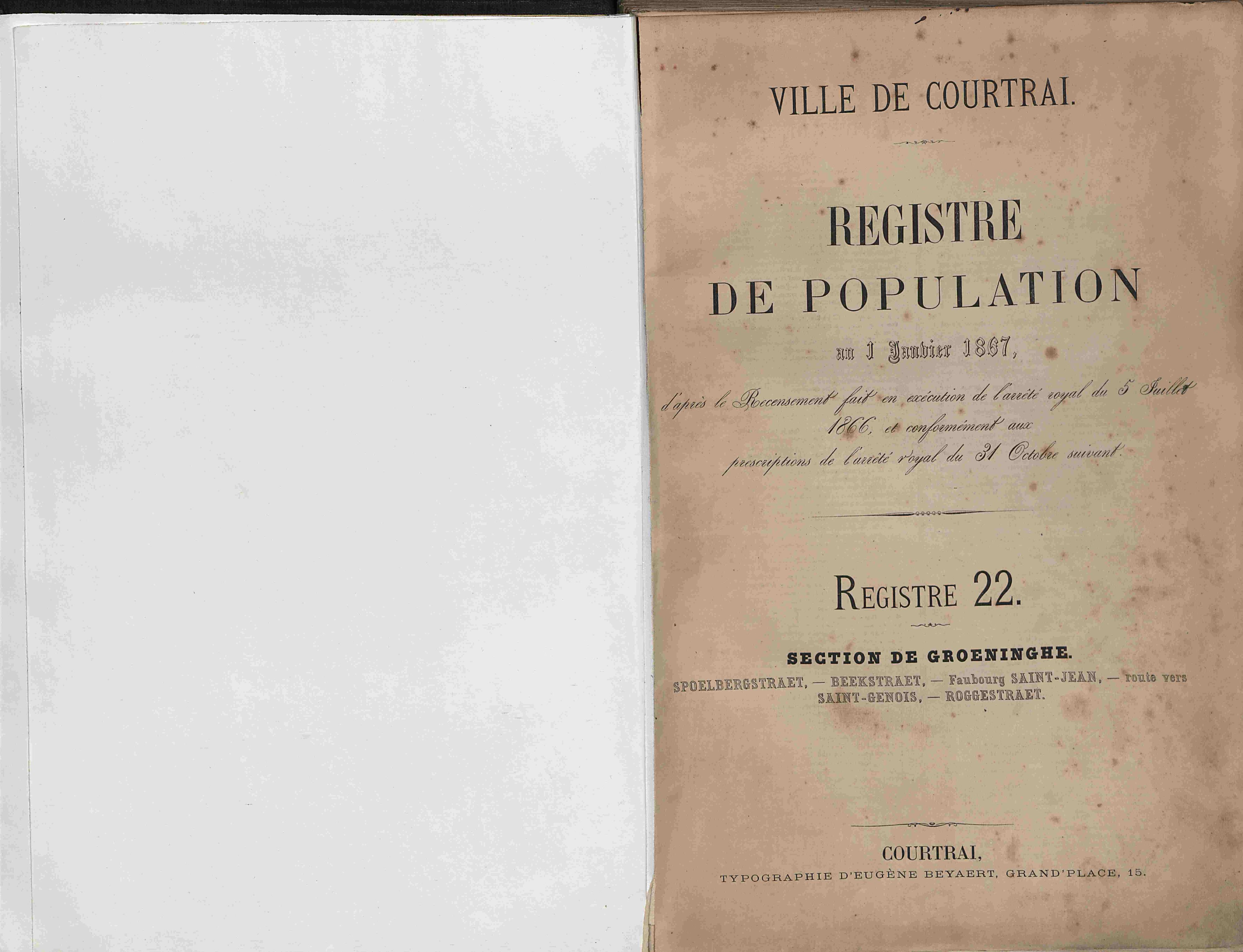 Bevolkingsregister Kortrijk 1866 boek 22
