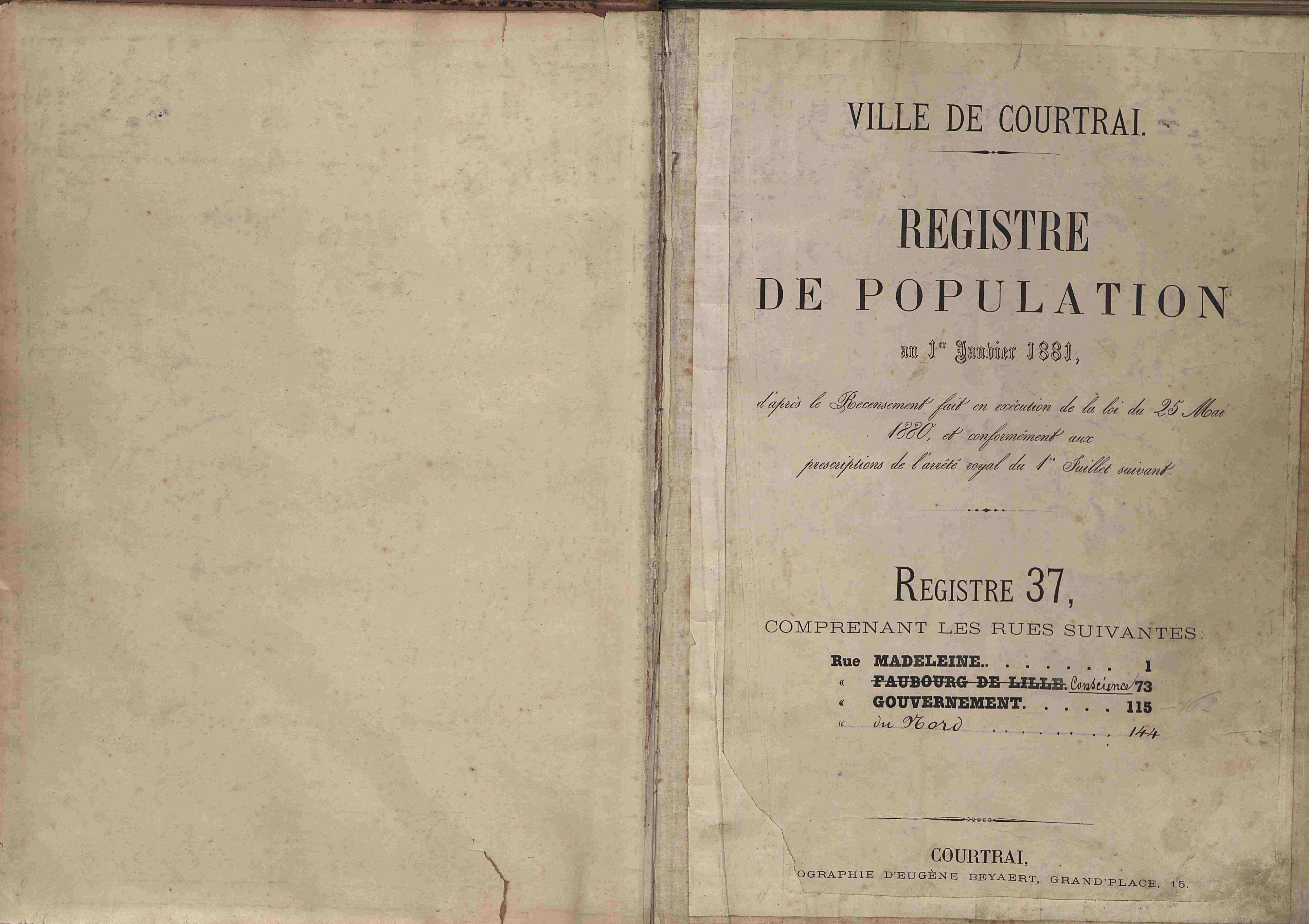 Bevolkingsregister Kortrijk 1880 boek 37