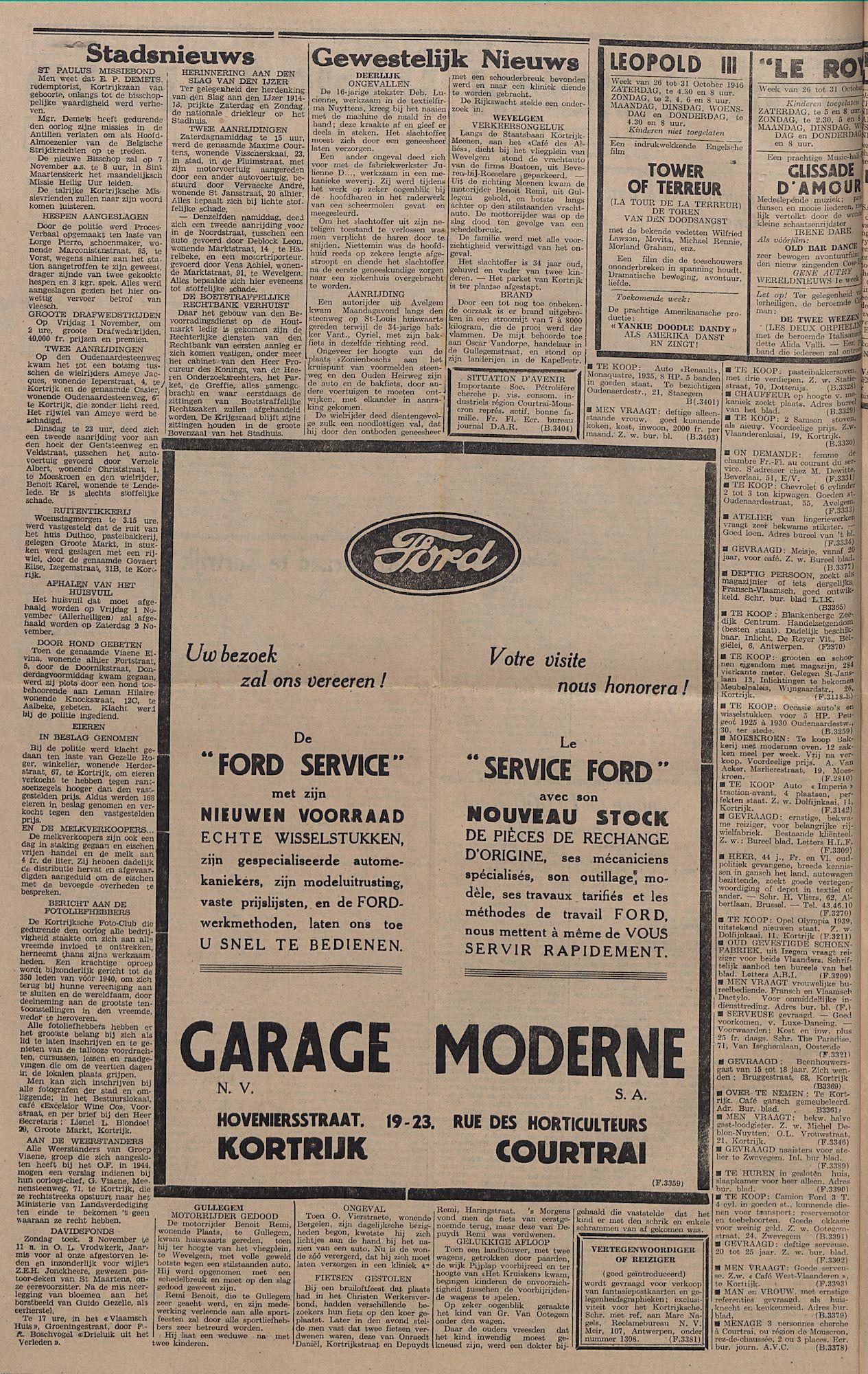 Kortrijksch Handelsblad 29 oktober 1946 Nr87 p2