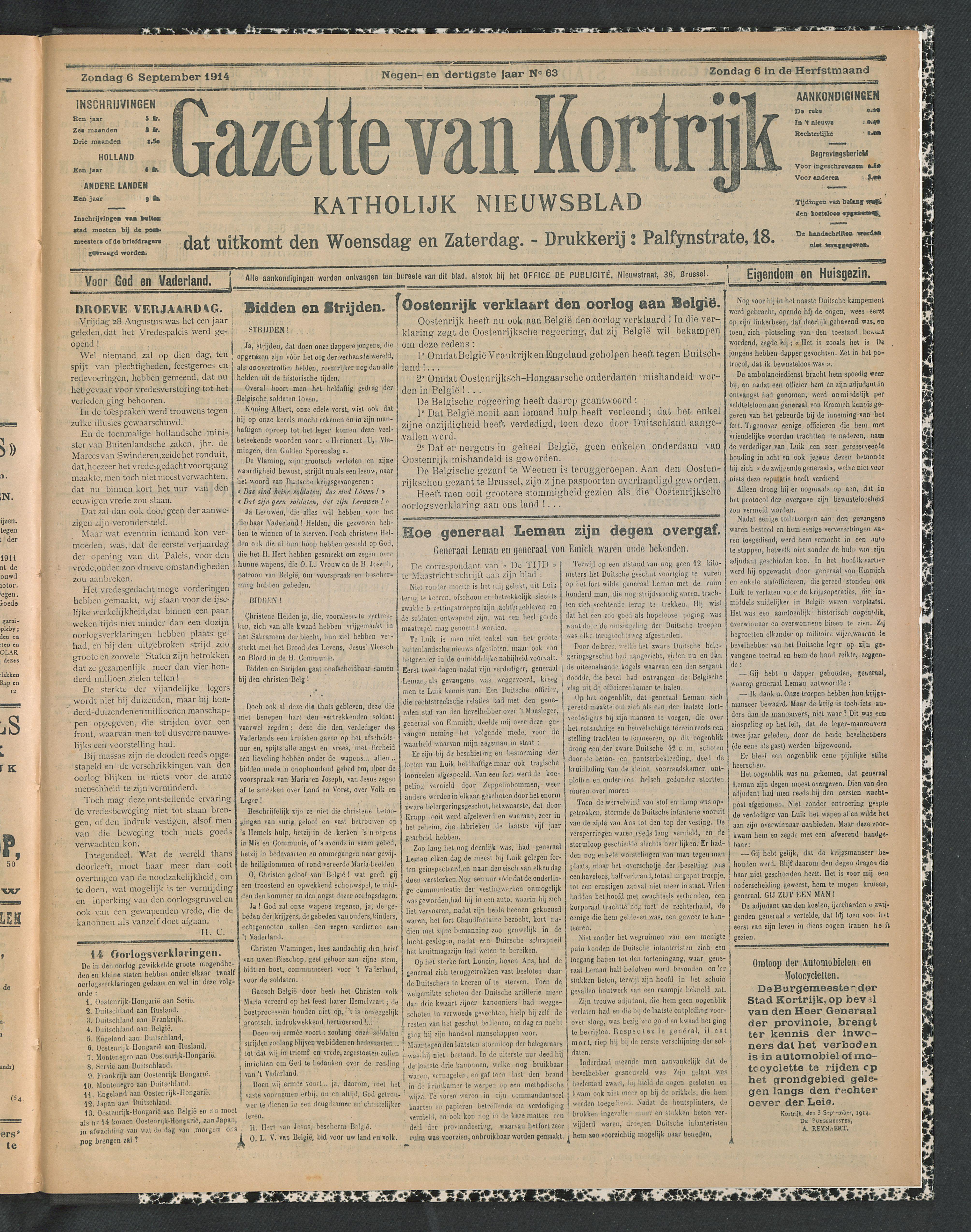 Gazette Van Kortrijk 1914-09-06 p1