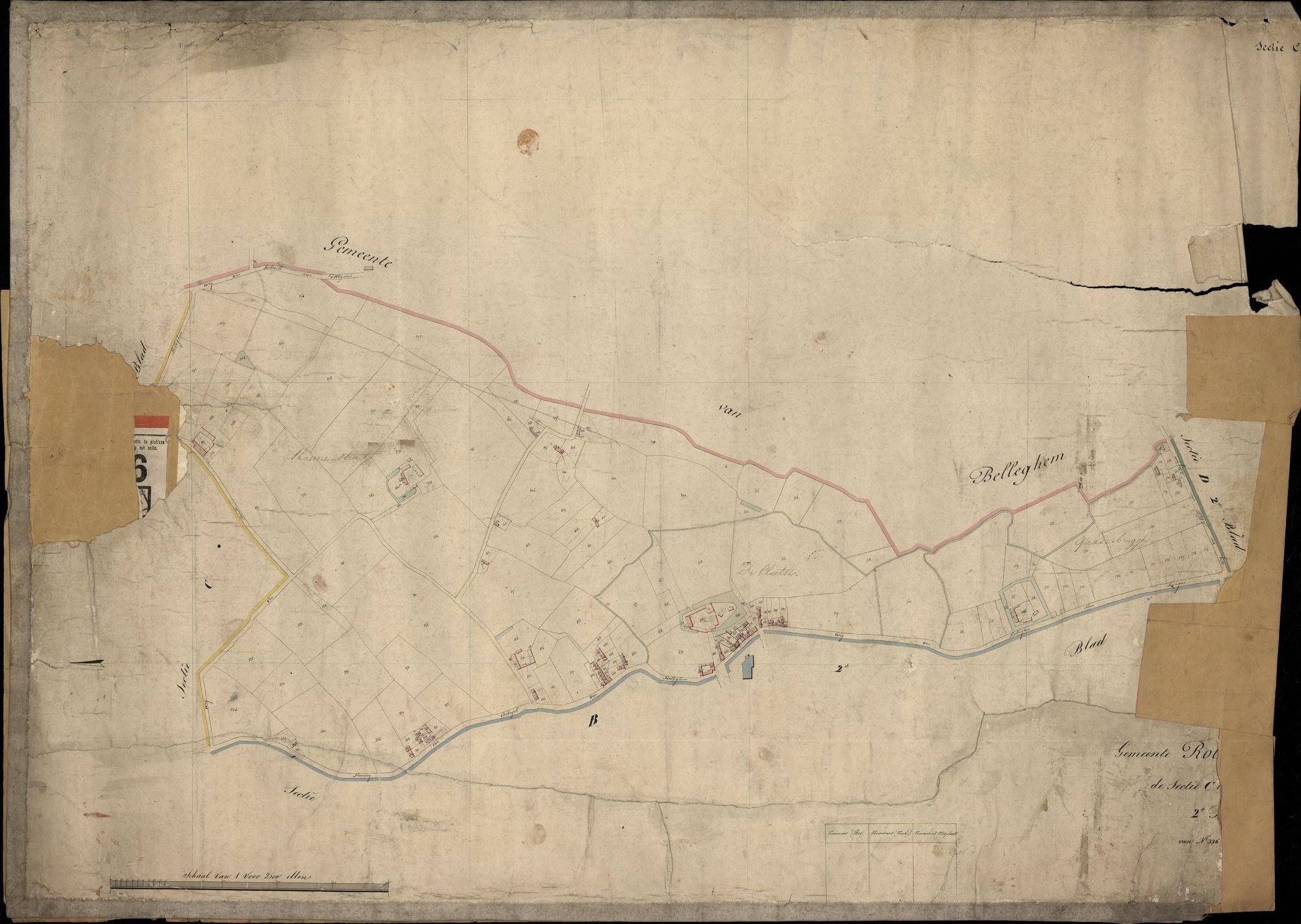Kadastrale kaarten van Rollegem, 19de eeuw