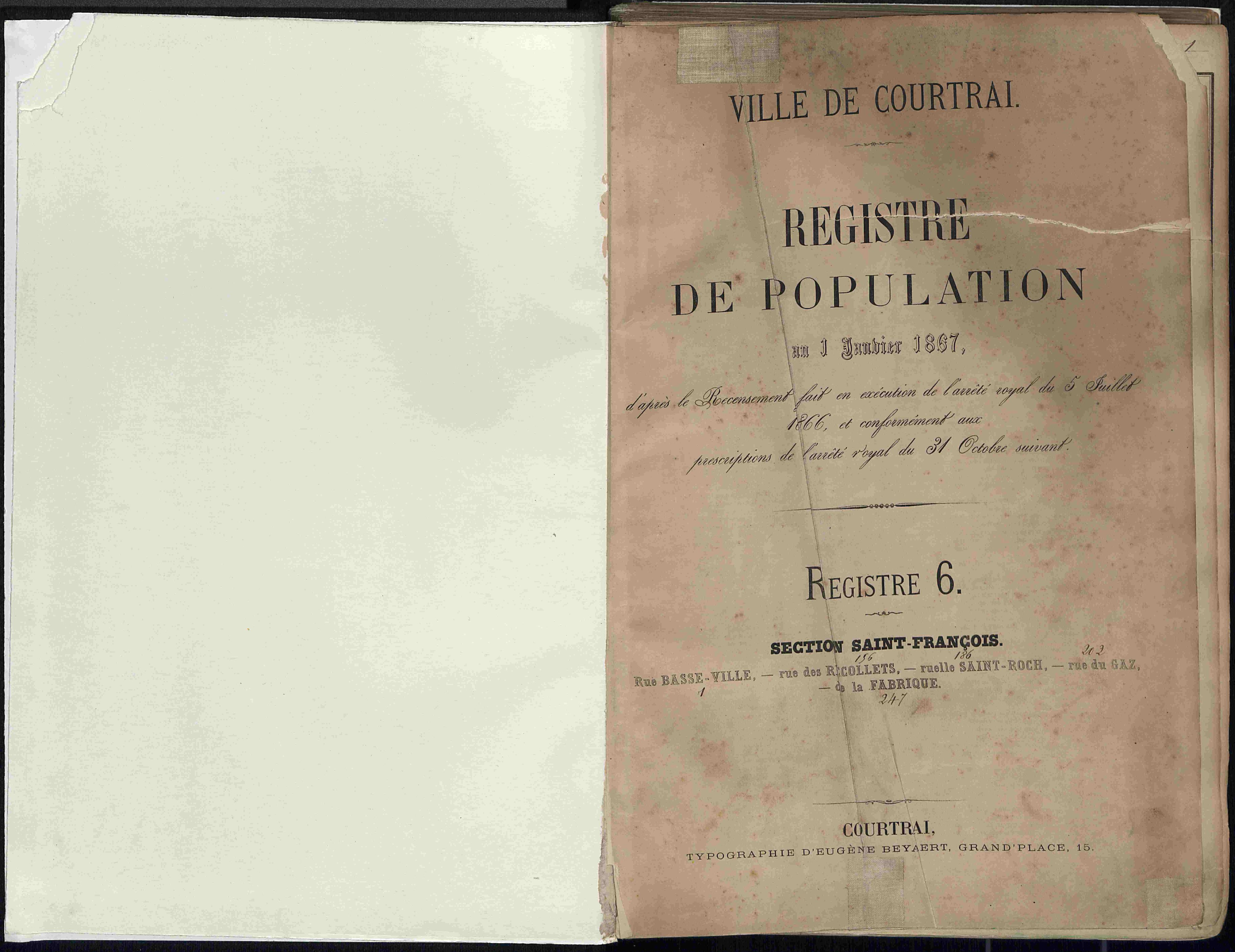 Bevolkingsregister Kortrijk 1866 boek 6