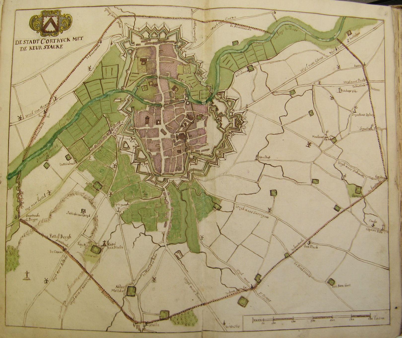 Plattegrond van Kortrijk ca 1725